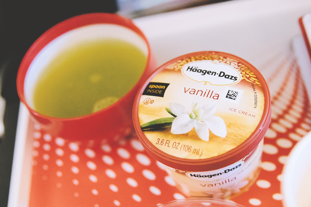 Dessert included delicious green tea and vanilla ice cream. Throughout the flight, we were always offered green tea, coffee, and even soup.