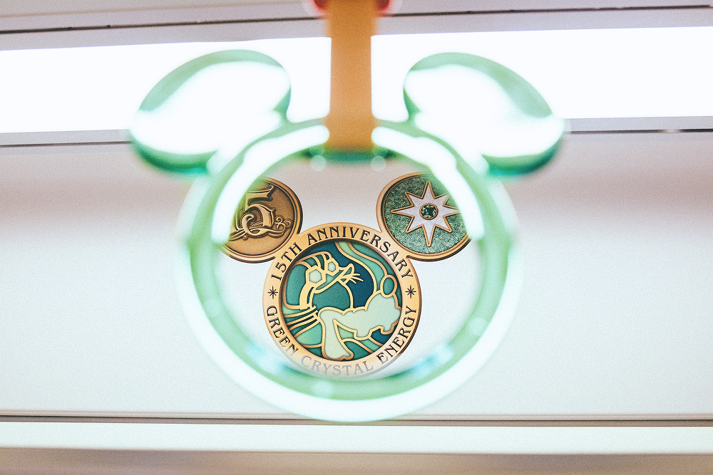 Goofy's green crystal is a wish for good feelings (genki!)