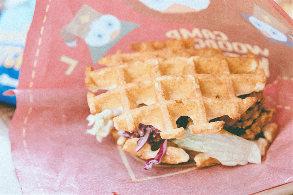 Camp Woodchuck is the only quick service with comfort food like this: a chicken and waffle sandwich.