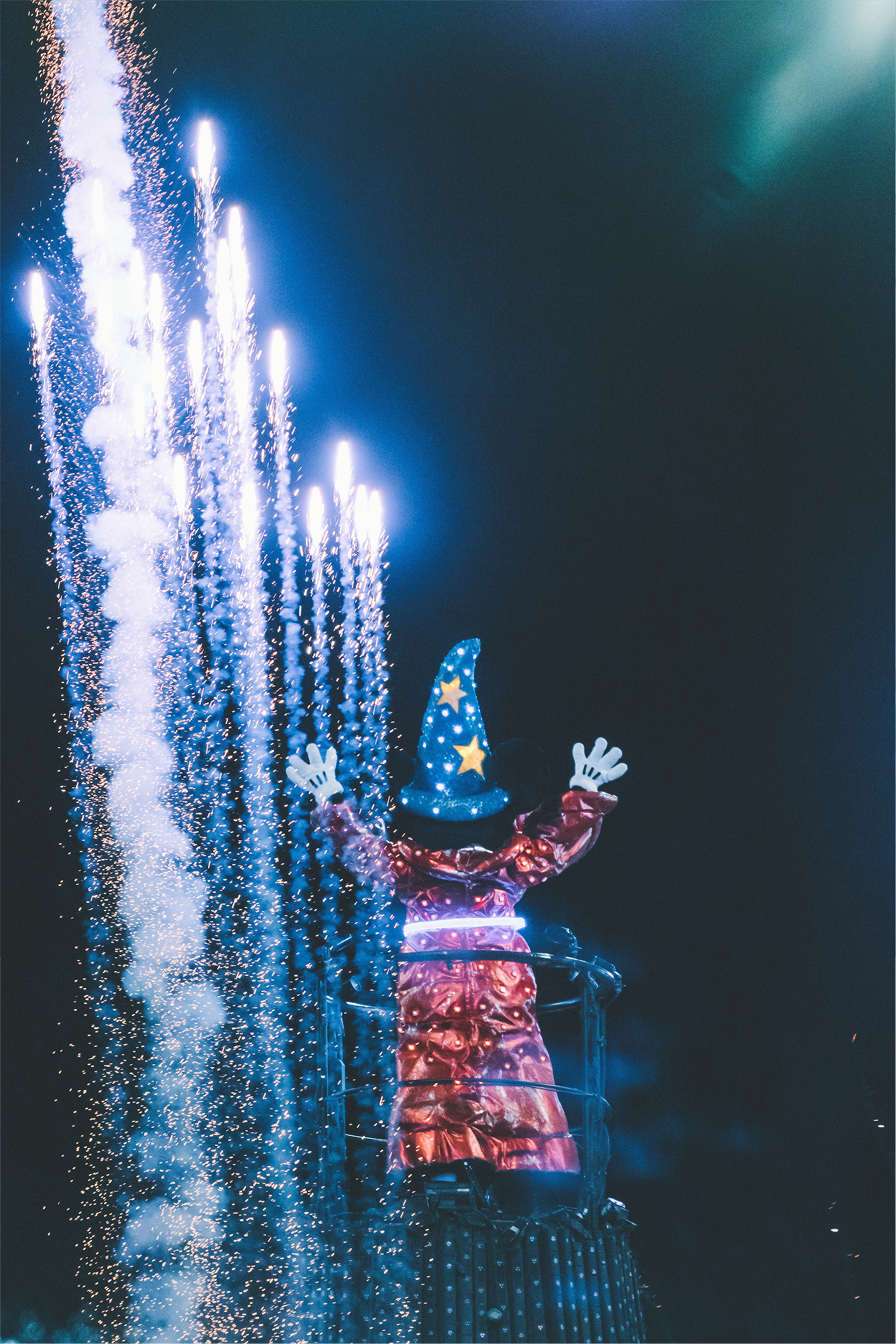 Since we are creatures of habit, we ended our evening at Fantasmic with a couple of our friends. I never tire of seeing Mickey ignite the sky.