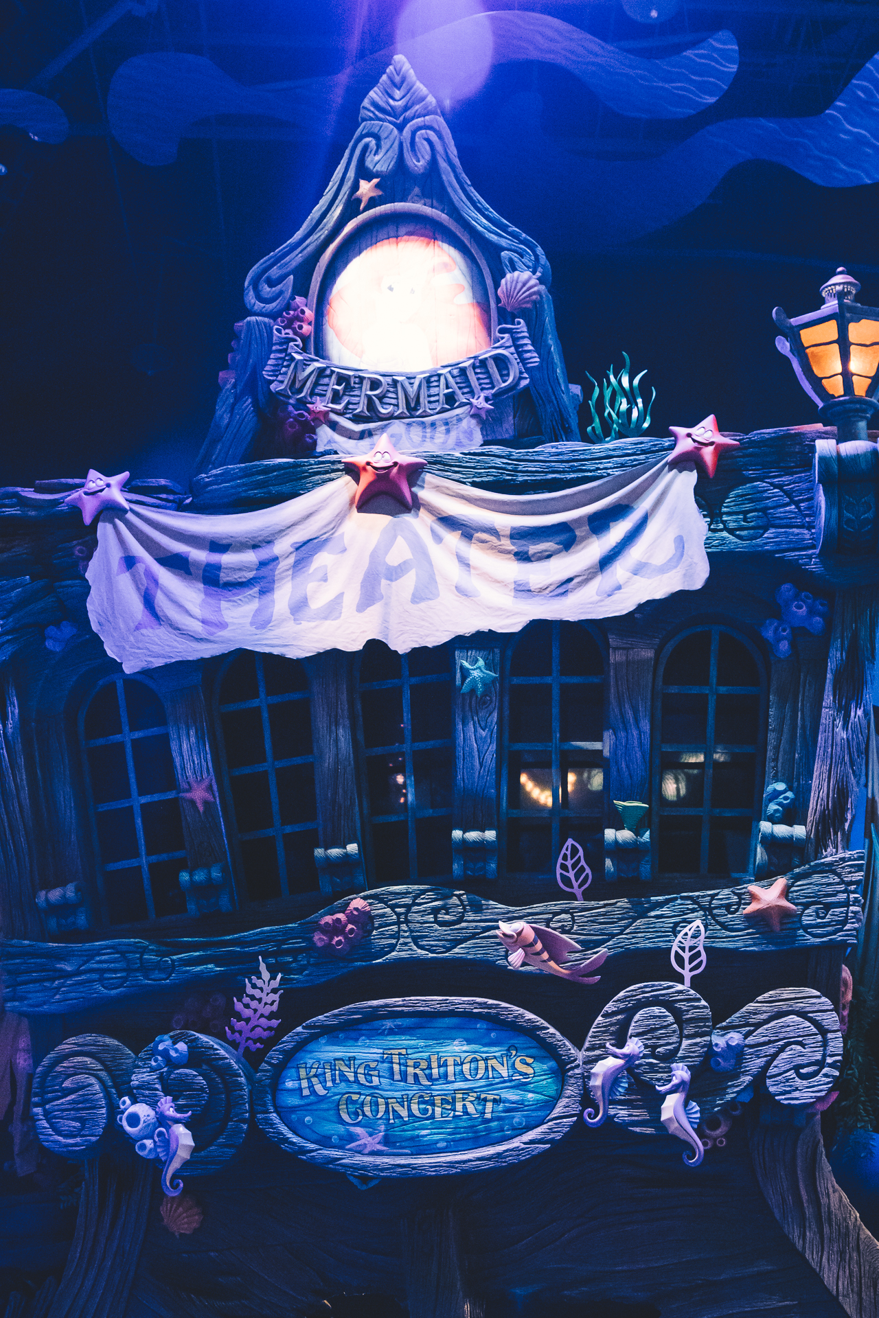 About an hour later we wound up at Mermaid Lagoon for our King Triton's Concert Fast Pass. If you know me,  this  show means everything to me,but it was closed for the entirety of our trip. Luckily, this was the first day of operation after their refurbishment.