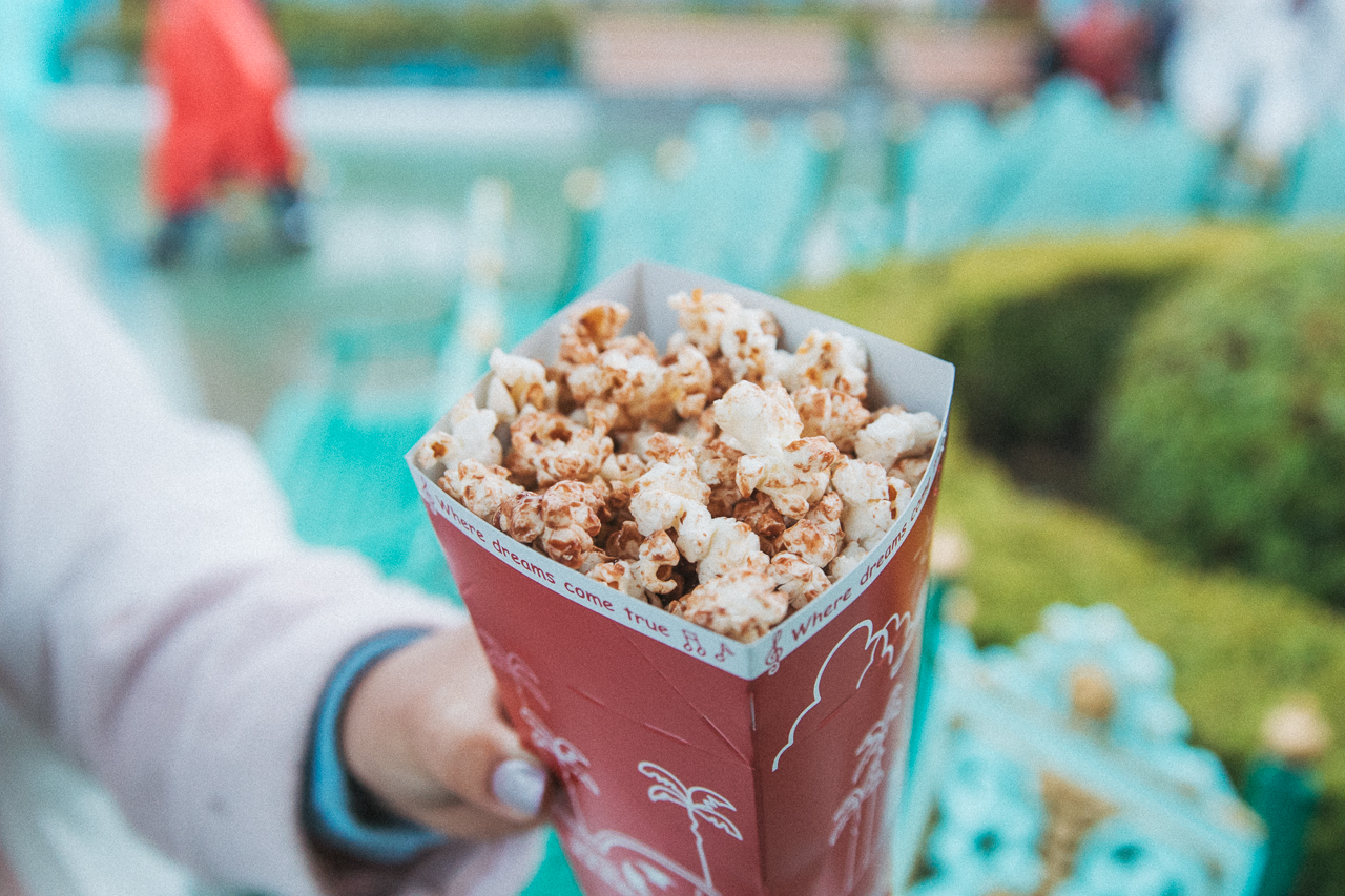 Milk Chocolate Popcorn found right beside the Castle Carousel  (¥310) The smell of milk chocolate popcorn actually engulfs the entire surrounding area and welcomes you into Fantasyland. That's why this flavor boasts such a long line.