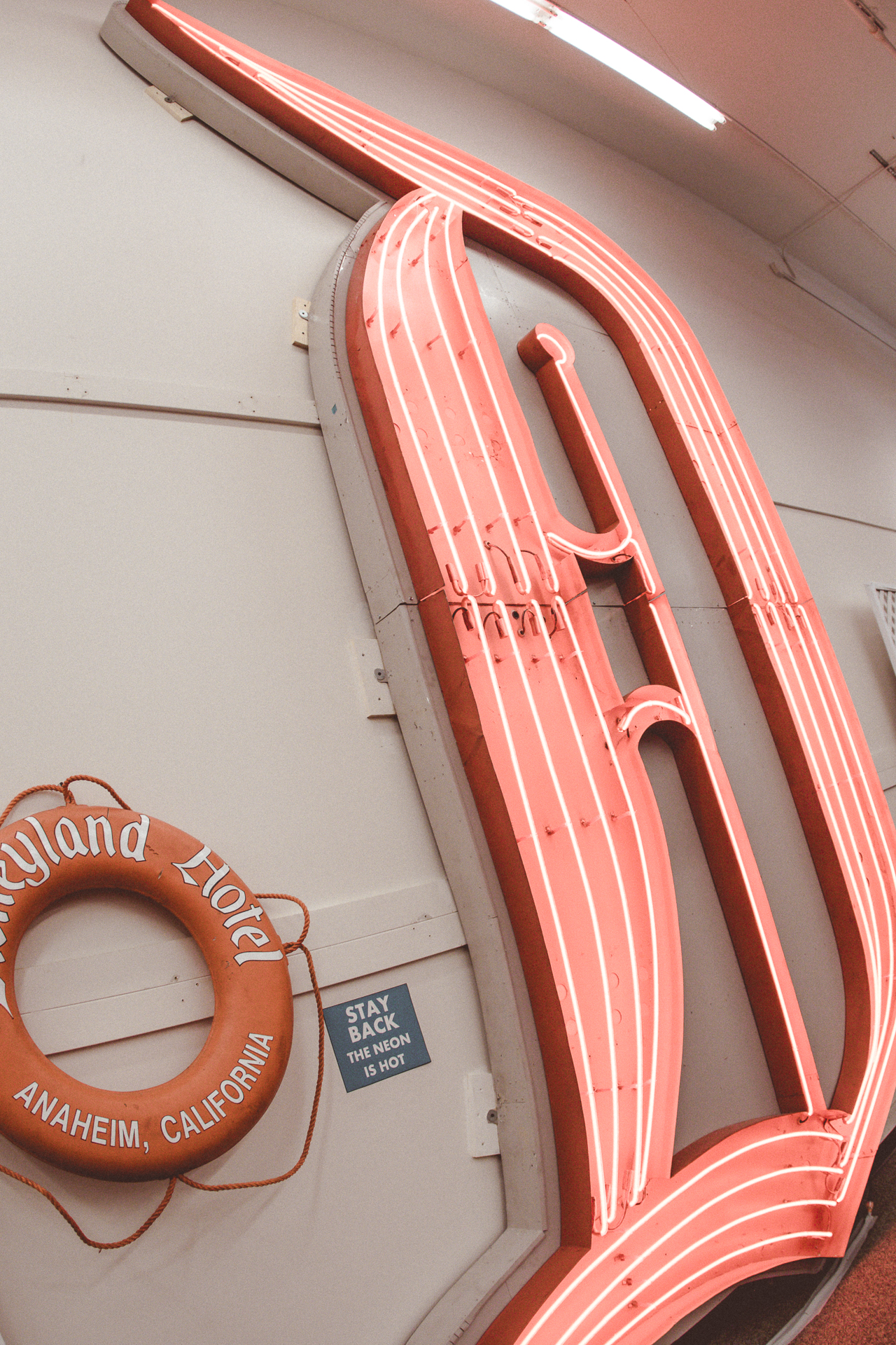 "One of the most instagrammable spots at the exhibit was the  HUGE  16-foot-tall Disneyland Hotel Neon ""D."""