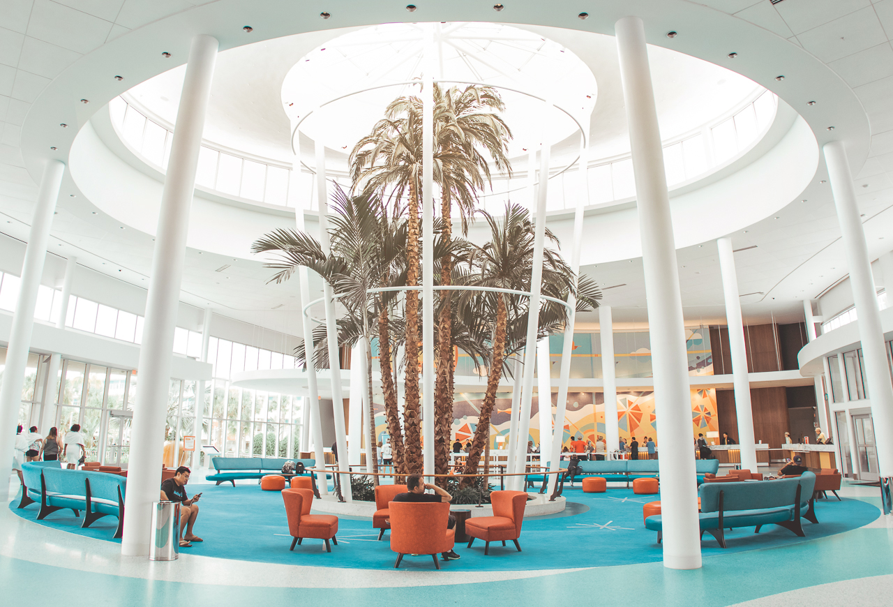 The hotel lobby was one of my favorite spots on the property. I loved that they incorporated the ideal mid-century style: open floor plan and outdoor living in.
