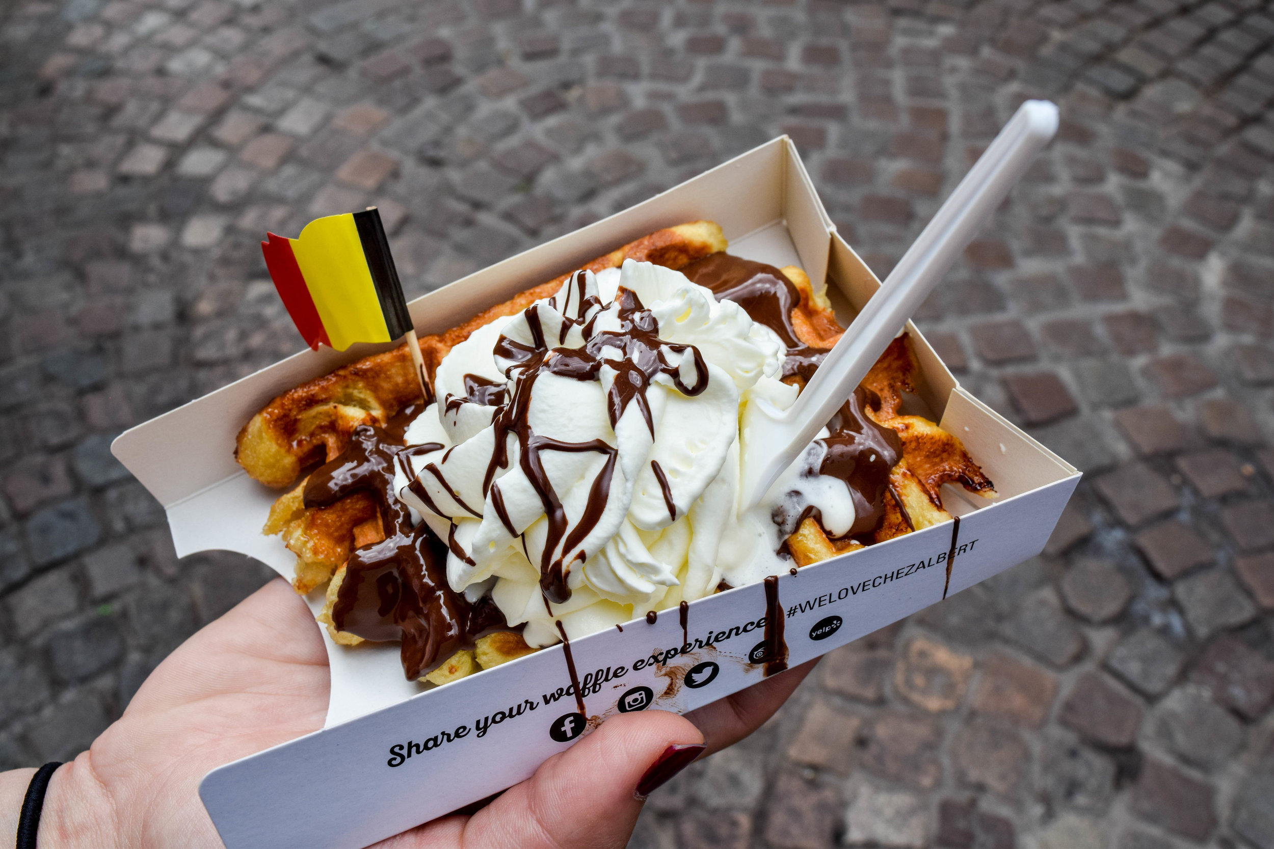 It wasn't until after this was eaten that we learned the traditional topping for Belgian waffles is sugar: nothing else. No regrets.