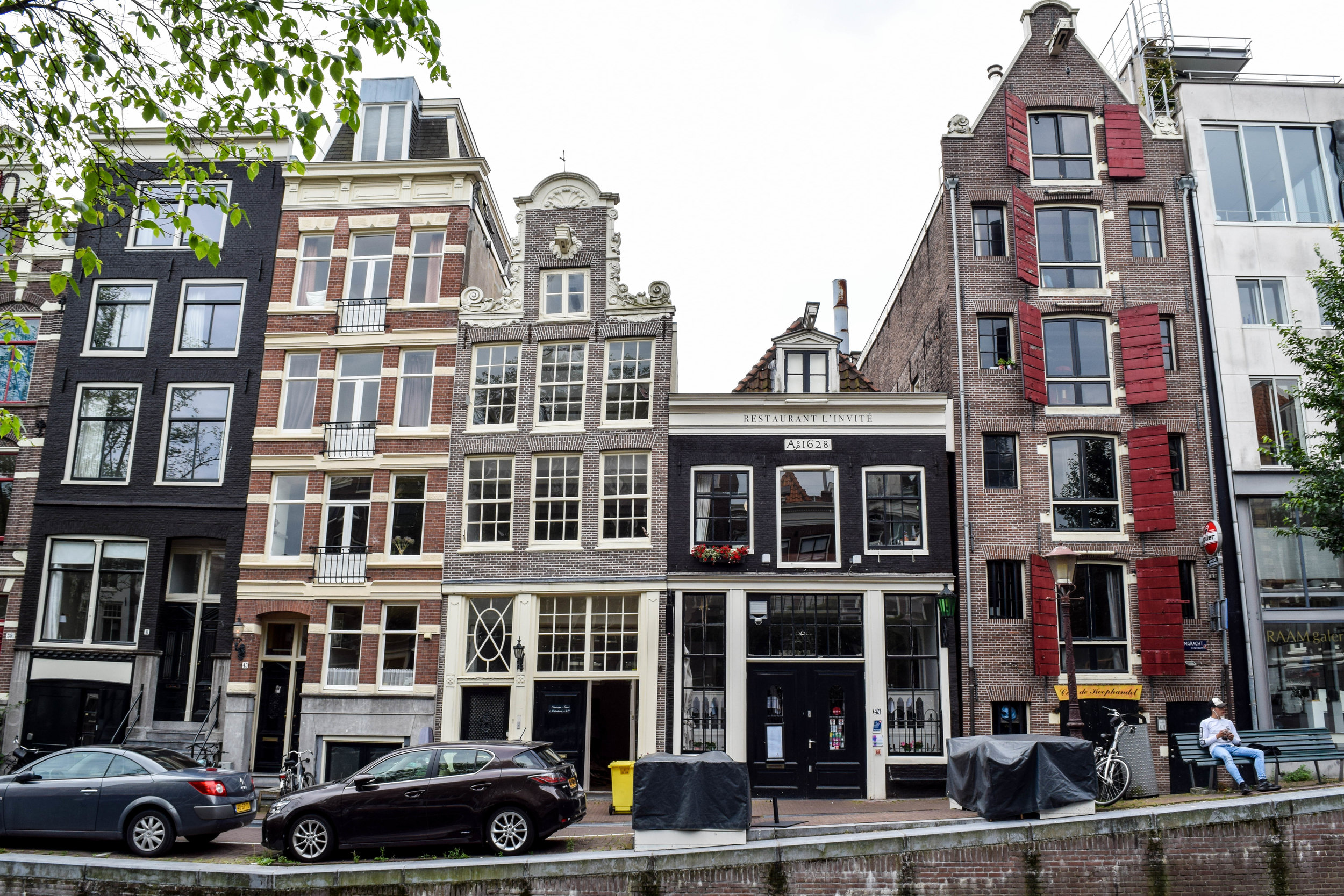A typical street in the city center of Amsterdam