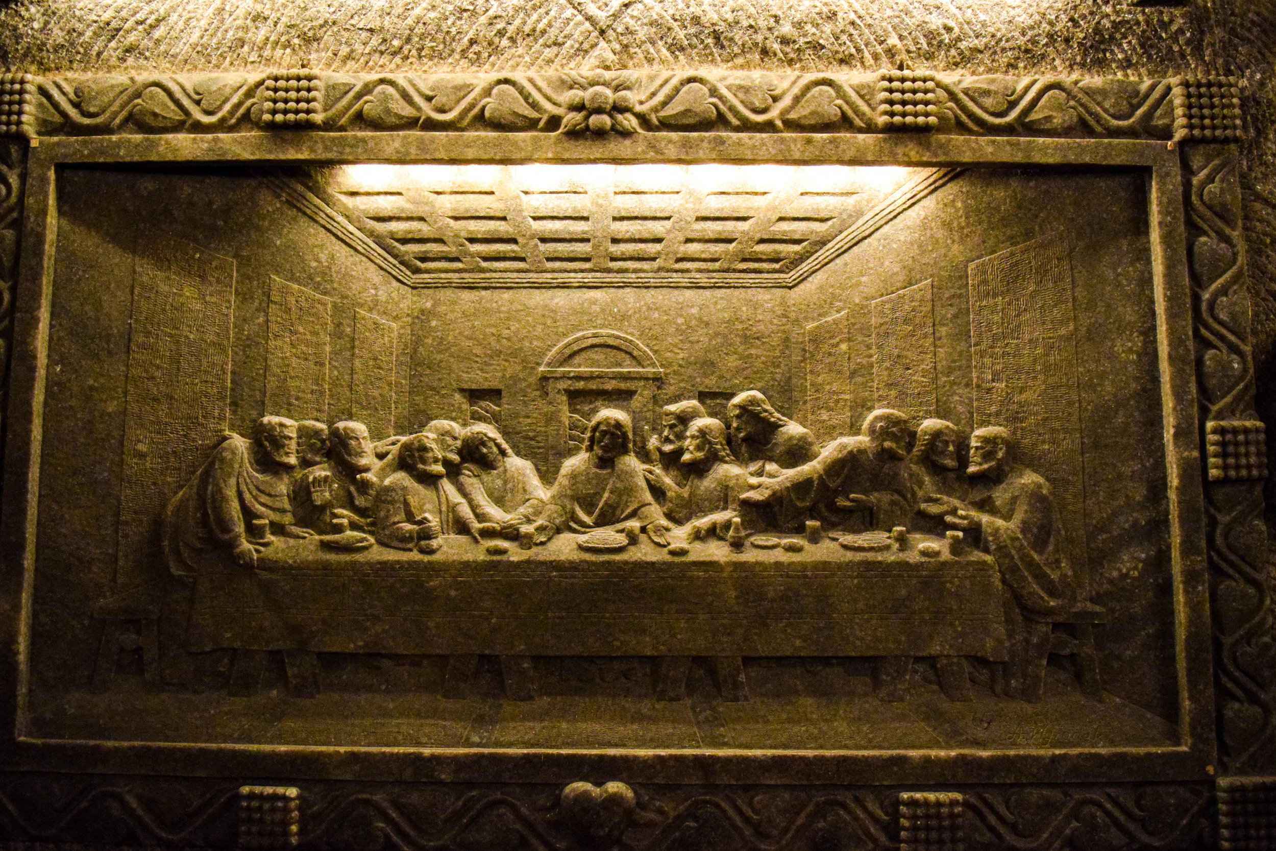 """Full-scale, salt replica of """"The Last Supper"""" found on the second floor of the mine"""