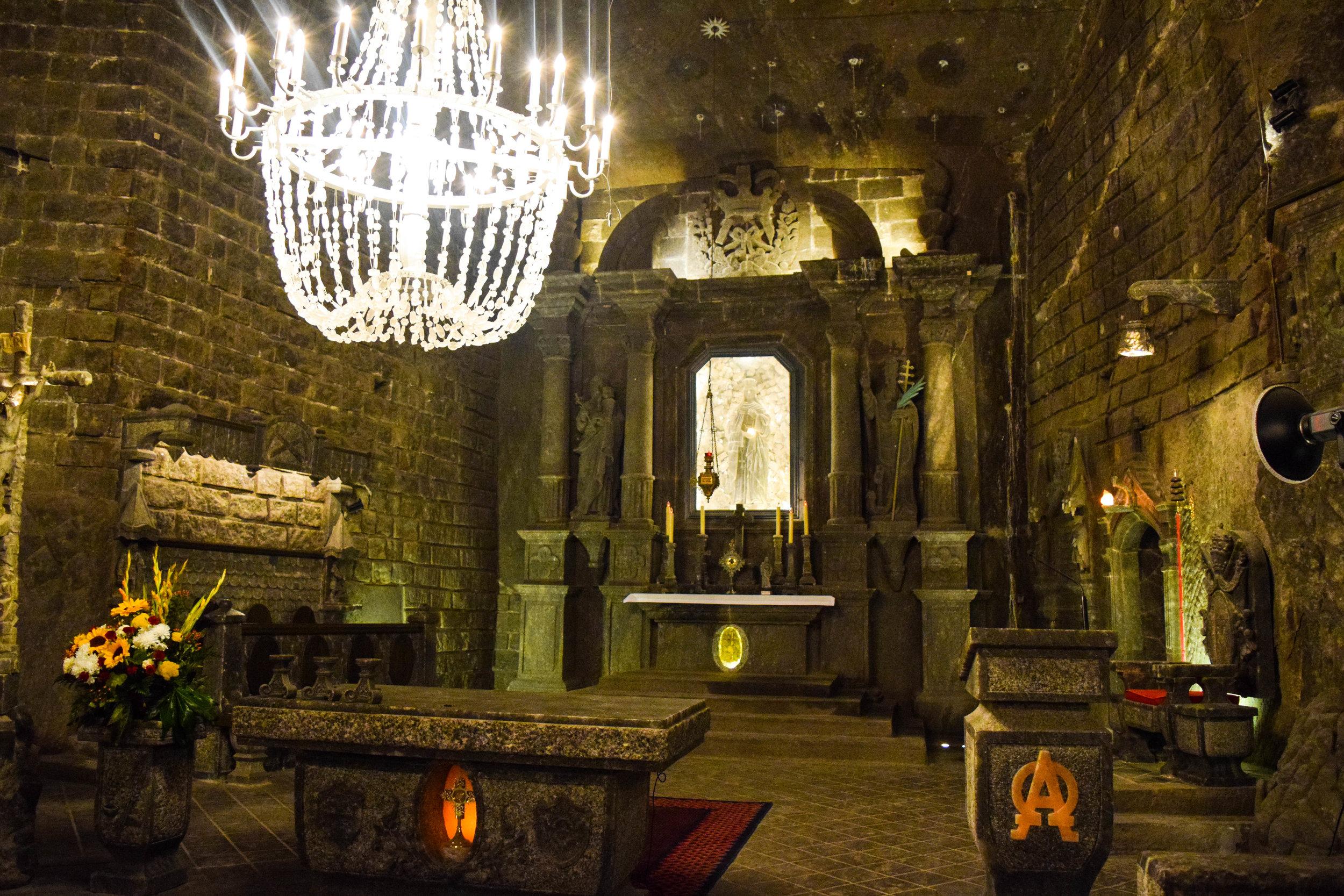 Salt altar in the large chapel room of the Wieliczka Salt Mine