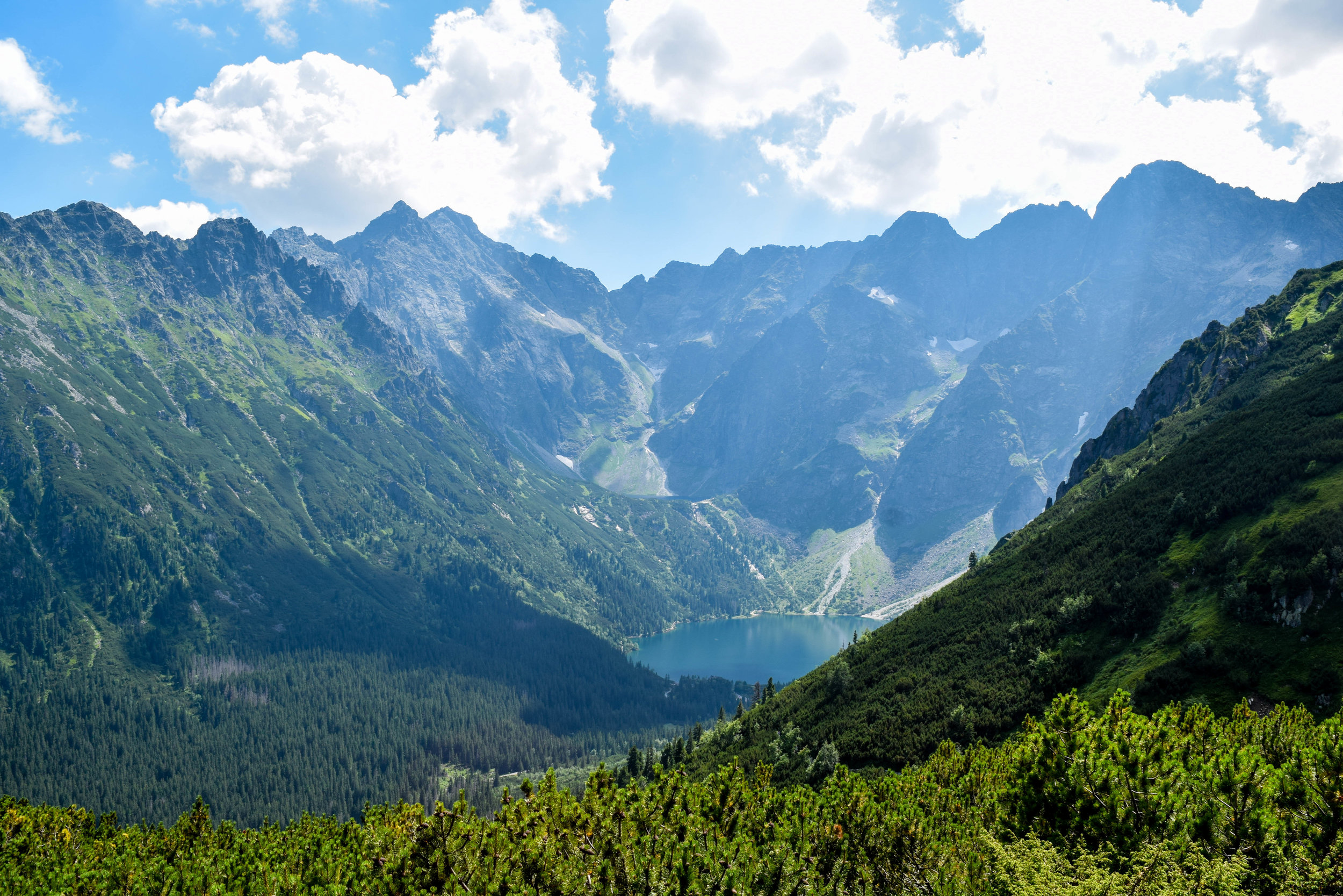 View of Morskie Oko from one of the mountain peaks we ascended