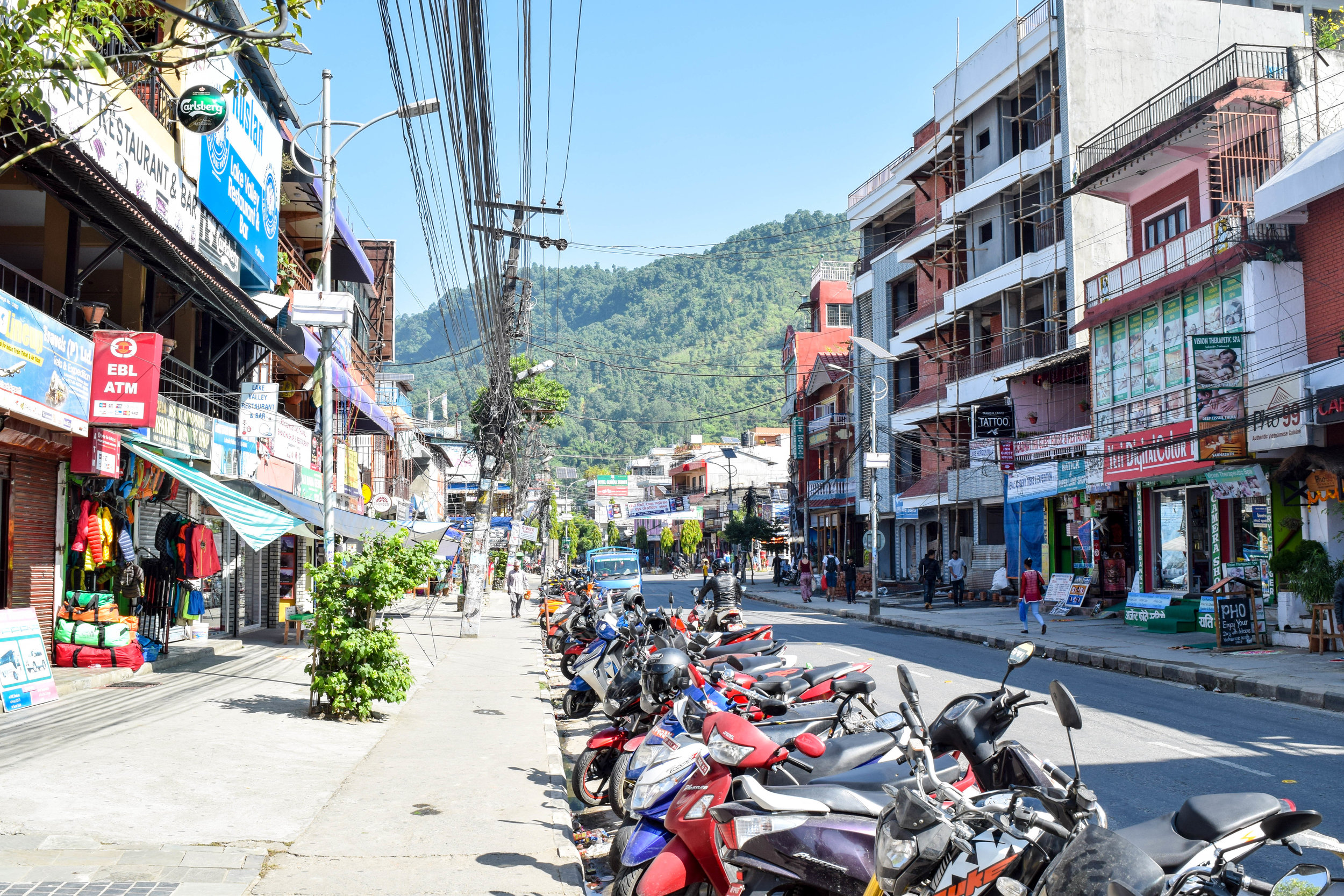 Pokhara: More calm than Kathmandu, but still Nepal, as evidenced by the *very* safe power lines.