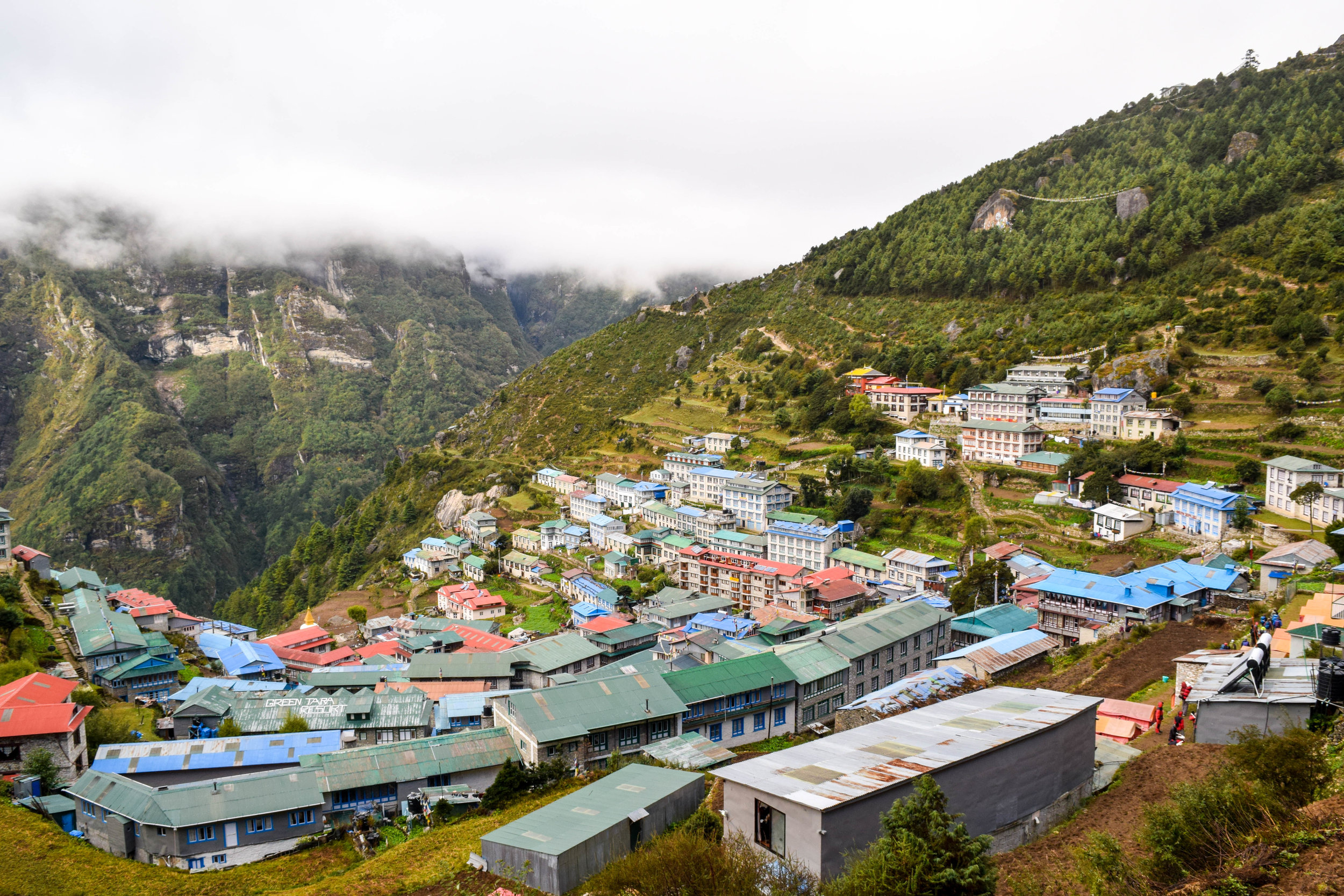Namche in the fog. There was always fog.