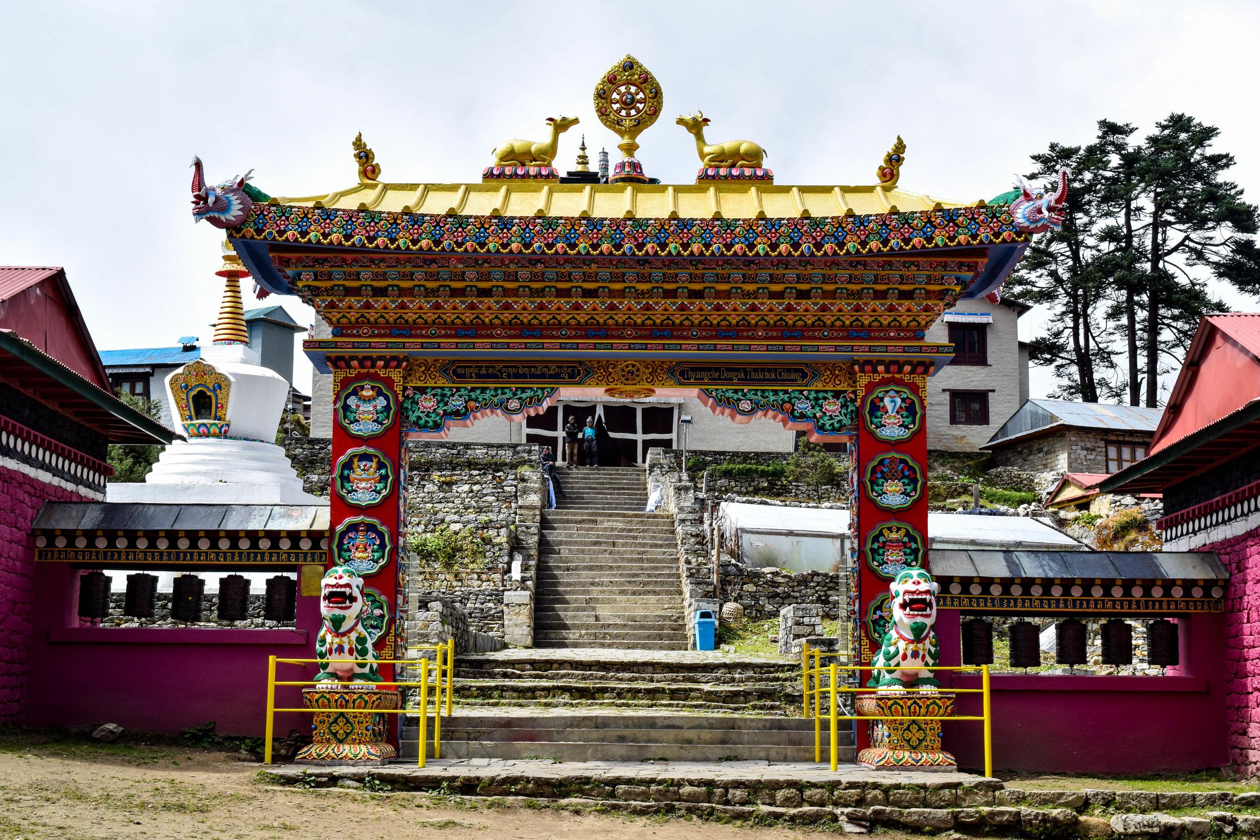 The elaborate gate at Tengboche Monastery.