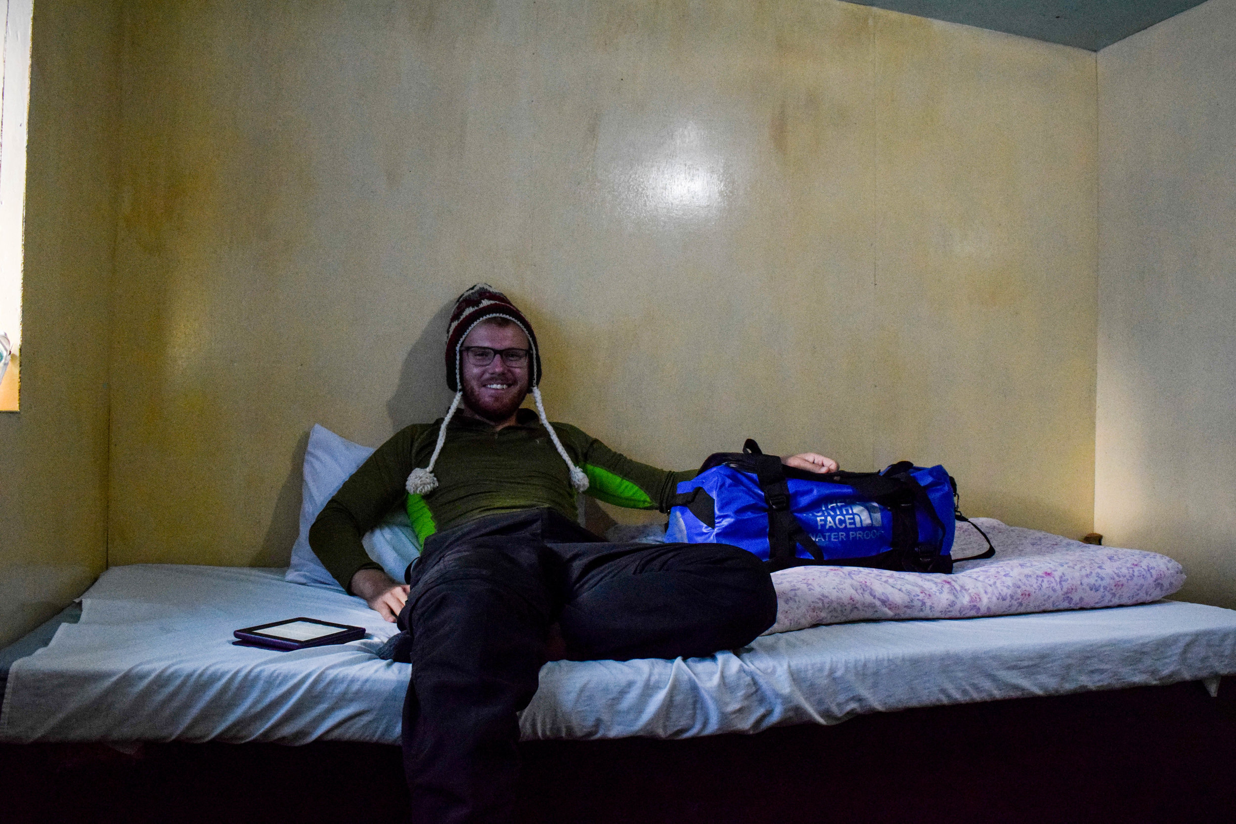 Leisure time in Dingboche, where all we had for amusement was our Kindles and playing cards.