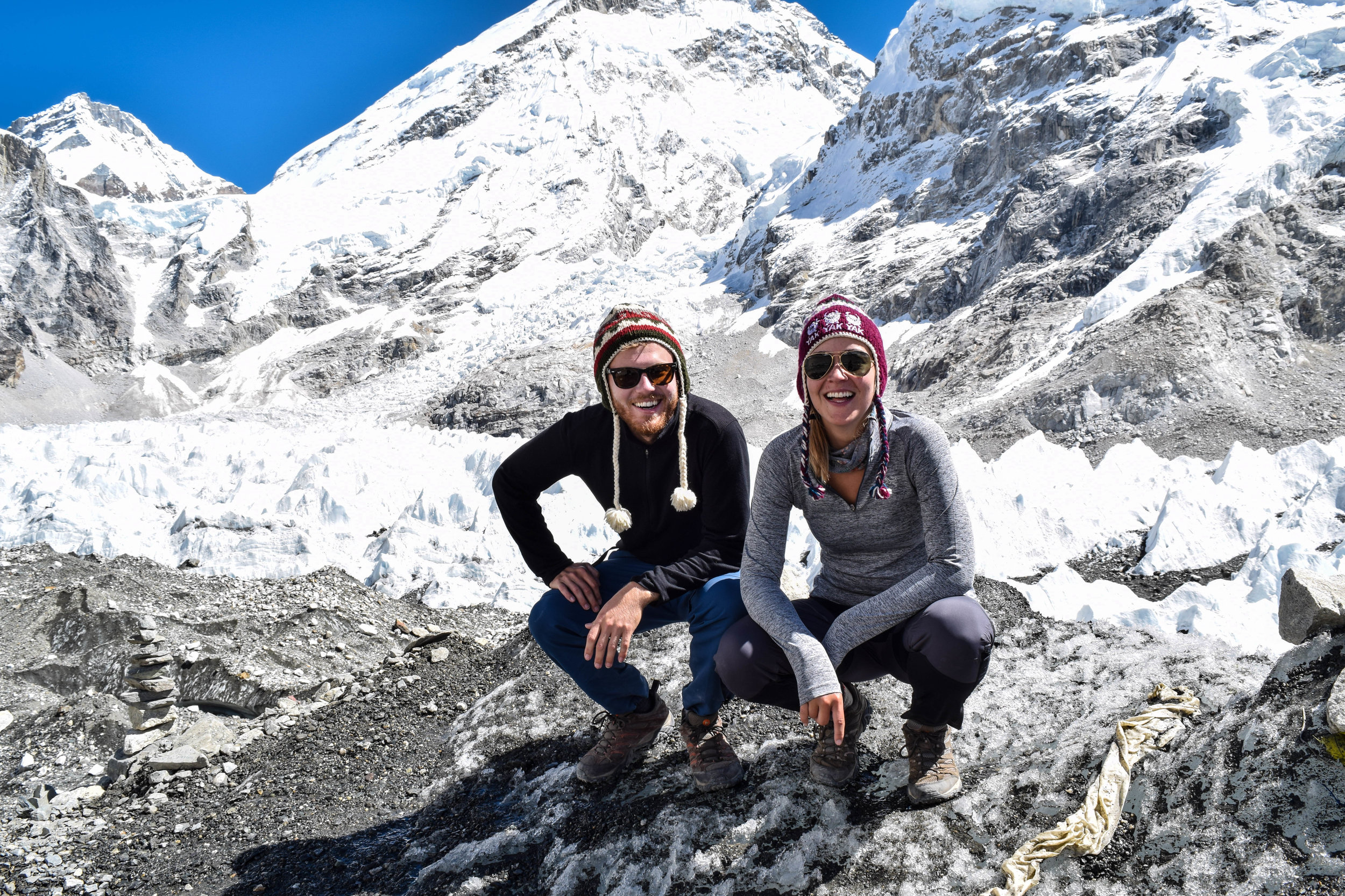 Behind us is the Khumbu Icefall, and we look really happy only because we know we'll never have to cross it.