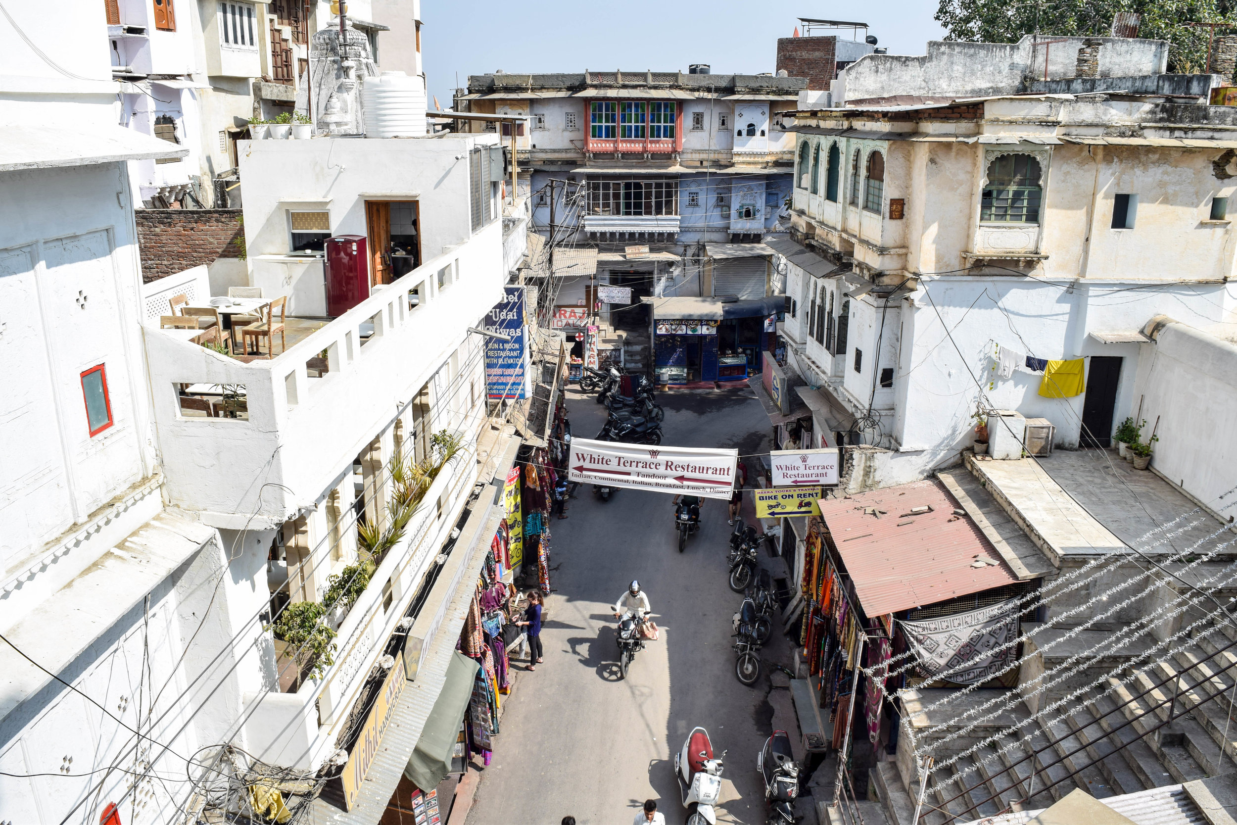 This is one of the wider streets in Udaipur.