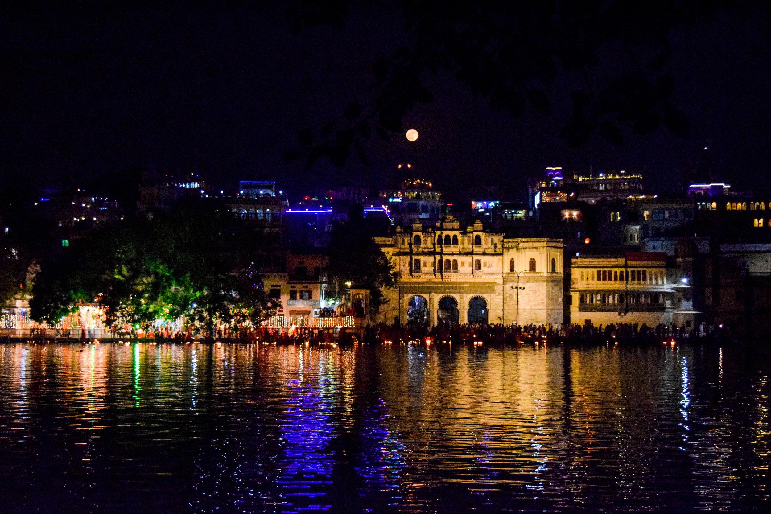Evening lights on Lake Pichola.