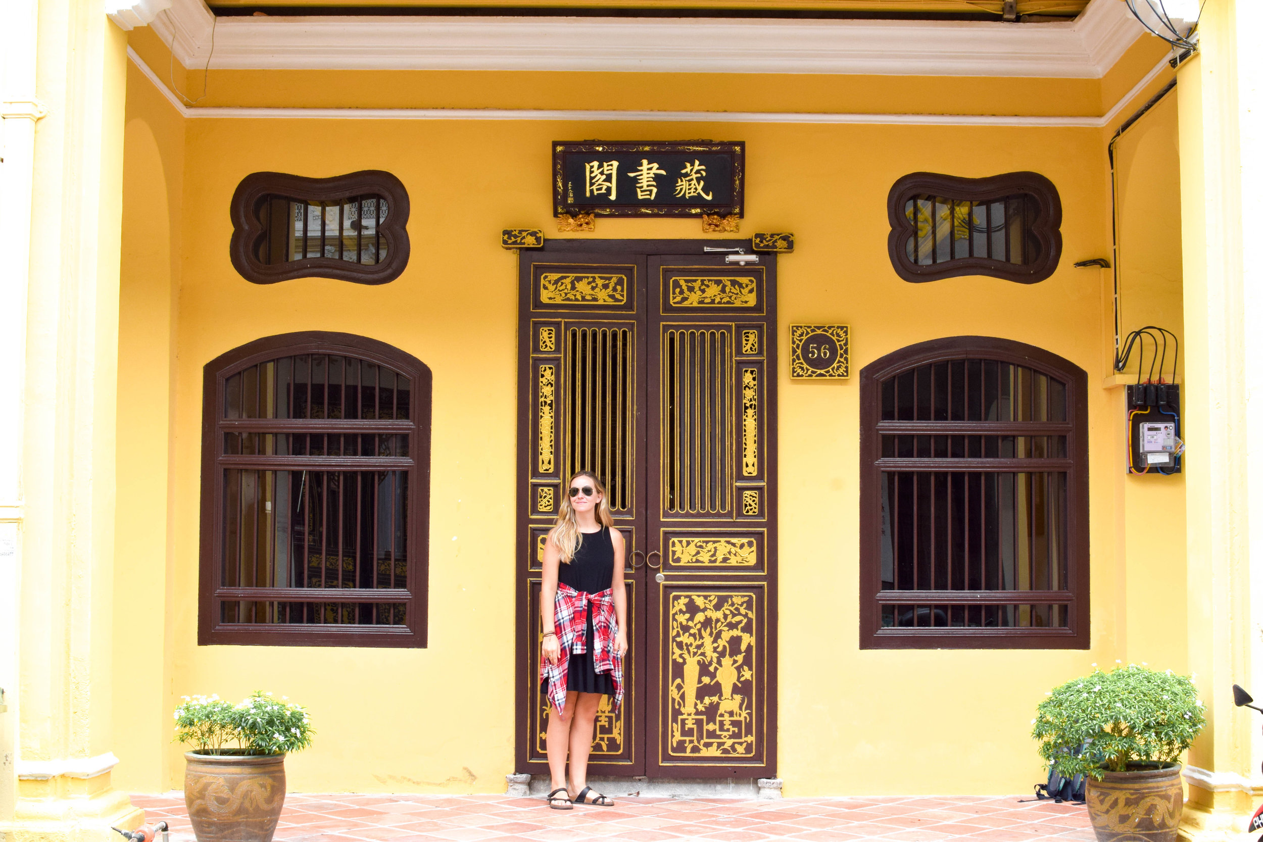 One of the colorful doorways near our hostel. Penang was full of them!