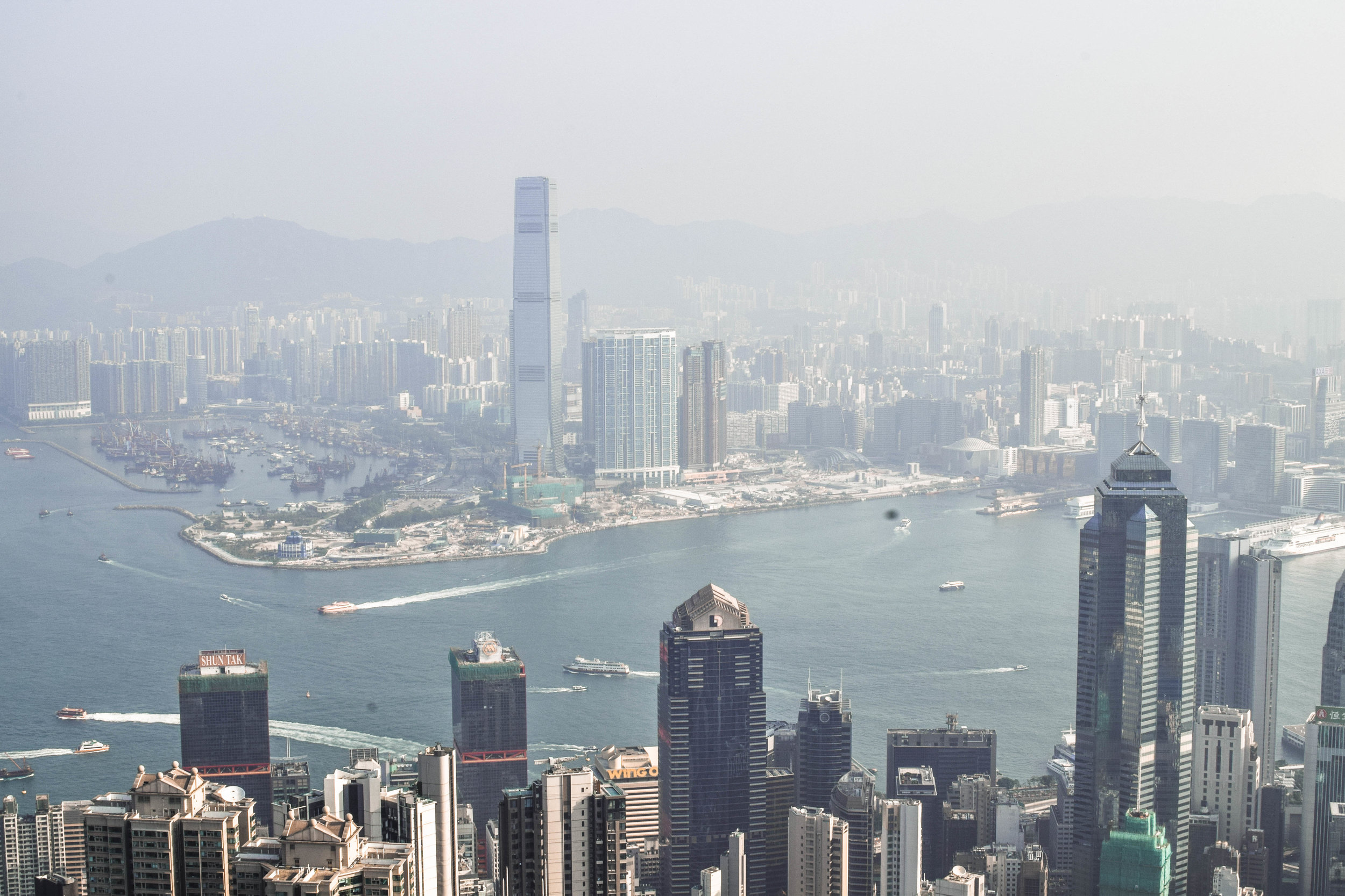 The view from Victoria Peak. Unfortunately it was a very hazy day when we went.