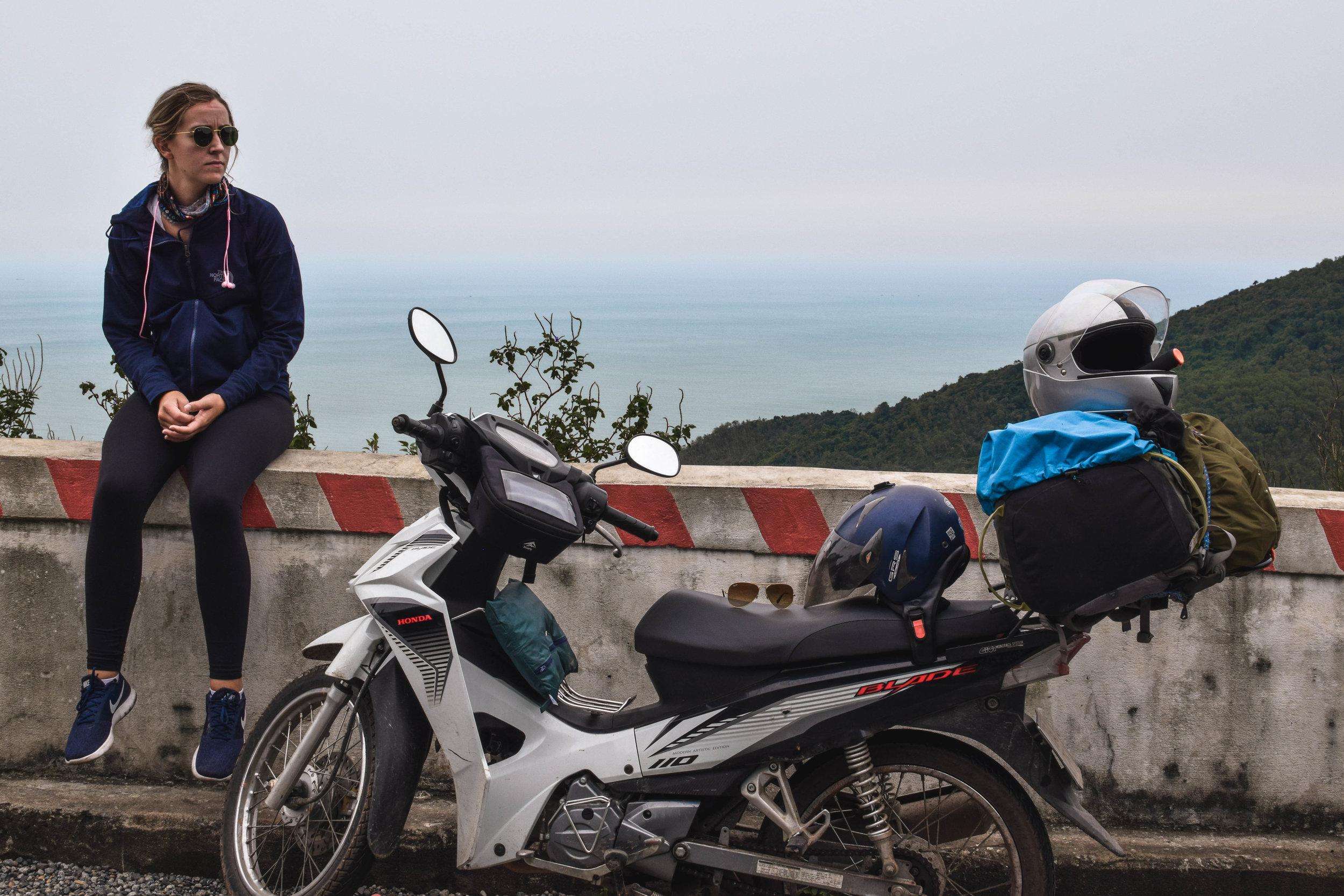 Taking a butt break atop the Hai Van Pass.