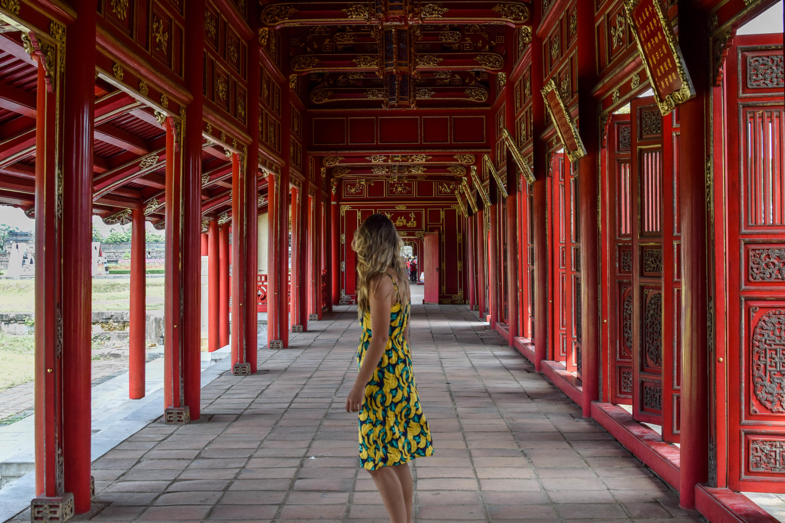 Inside the Imperial Citadel. Yes, that is a banana dress.