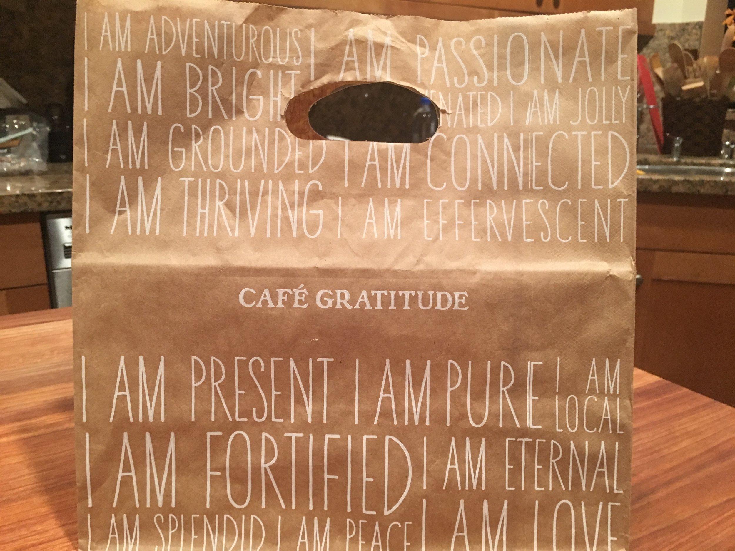 Kudos to Cafe Gratitude Beverly Hills for their inspiring to-go bags!