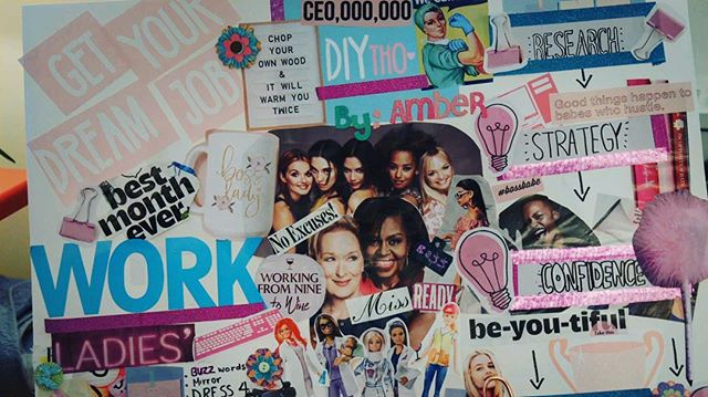 "Need some motivation ? Amber's vision board may help😉🛍📝💞💎 #research #strategy #confidence . . ✏️ DIYtho ""How to get a Job"" is out this upcoming Wednesday 😎 CANT WAIT !"