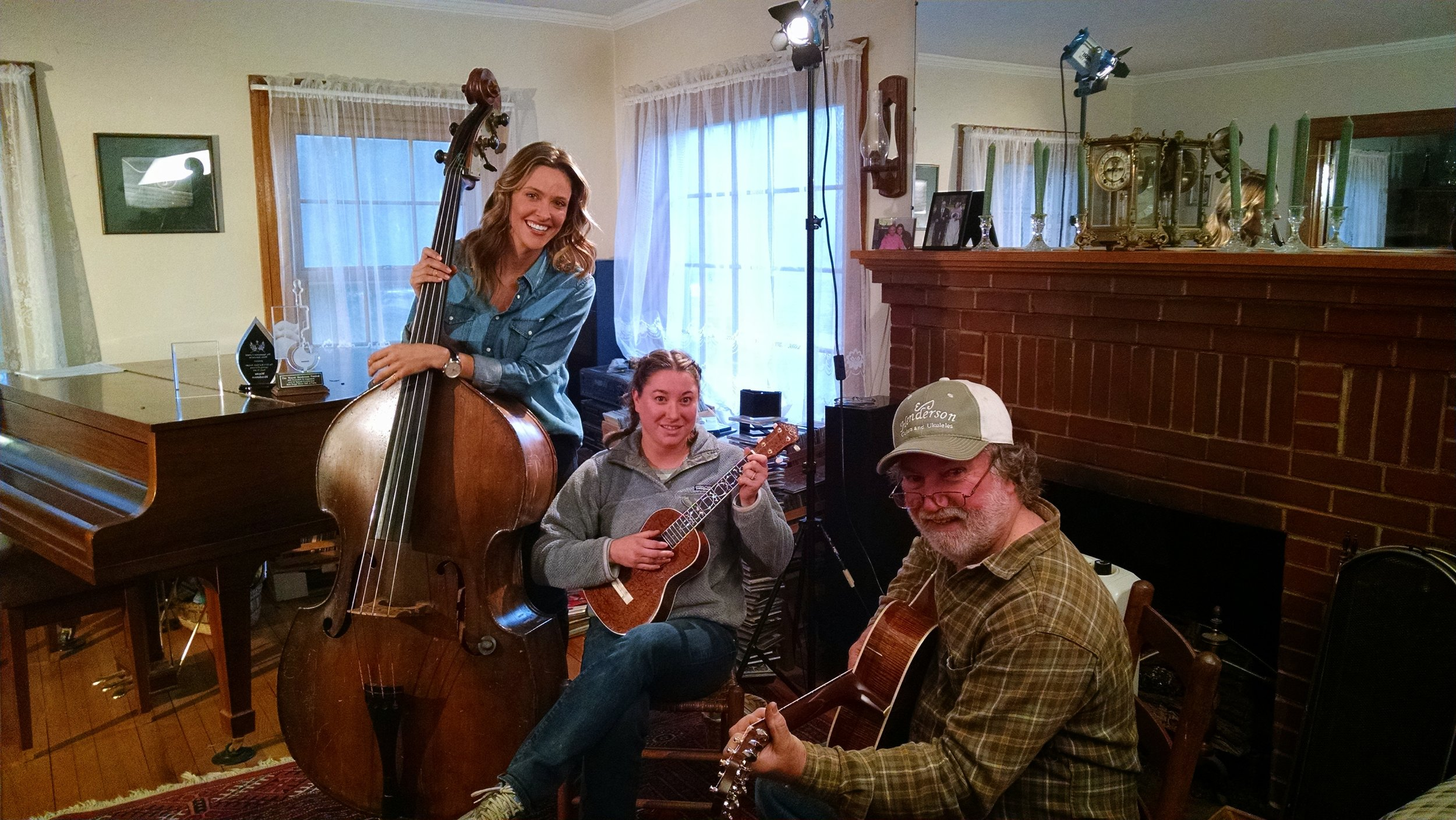 Teaching TV personality and host Jill Wagner to play bass for the taping of her show Handcrafted America
