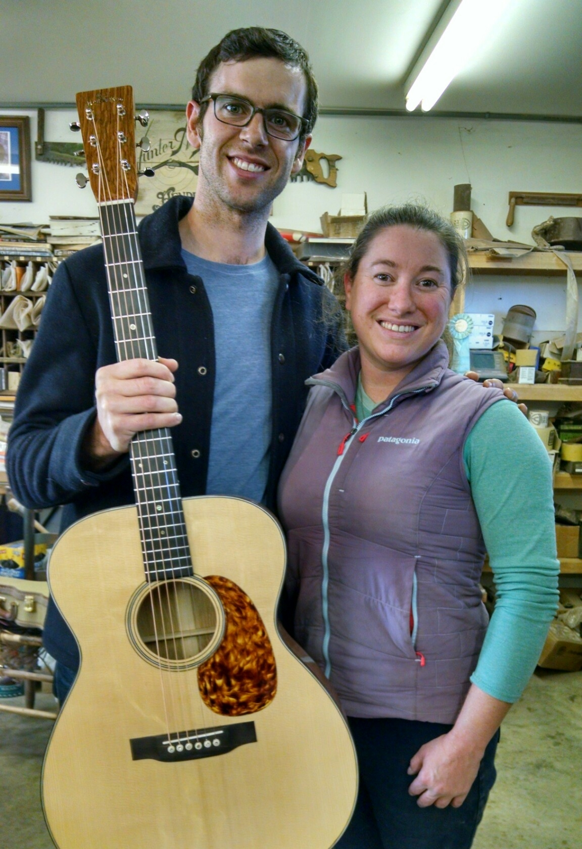 Bennett Sullivan stopped by the shop to borrow my oak #7 to play in Steve Martin's broadway musical Bright Star