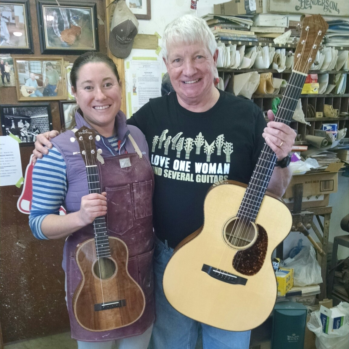Jim Wilson shows off his two EJ Henderson instruments, copy of Doc's #7 oak 000 and a walnut tenor ukulele!