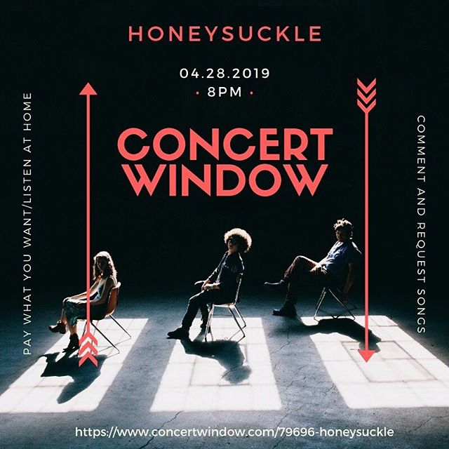 Sad that your city isn't on our tour route? Never fear, @concertwindow is here! You can tune in on your laptop (pretty much) anywhere in the world. It's pay what you want and every dollar helps up press our CDs and vinyls. Tune in April 28th 8pm eastern time. You can also comment and request songs while we play! - - - #honeysuckle #honeysuckleband #concertwindow #firestarter #newmusic #folkmusic #americanamisic #progressivefolk