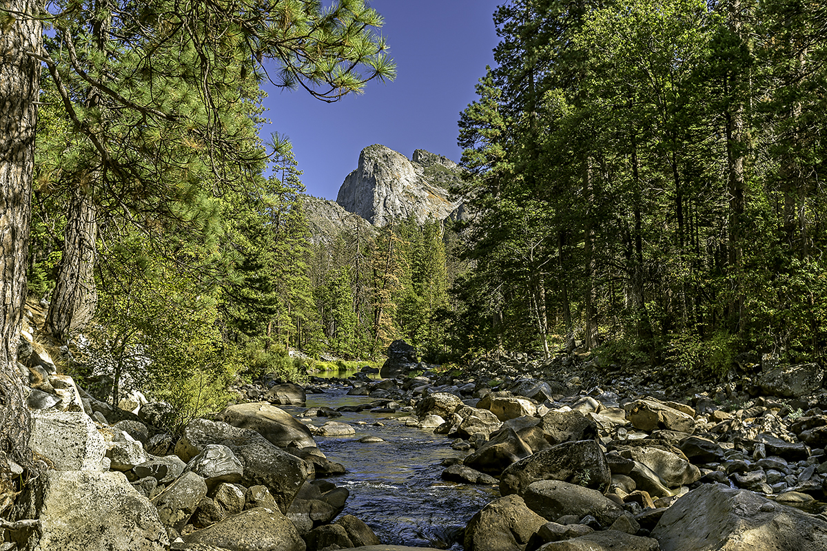 Hiking along the Merced River with Cathedral Rocks in the background.