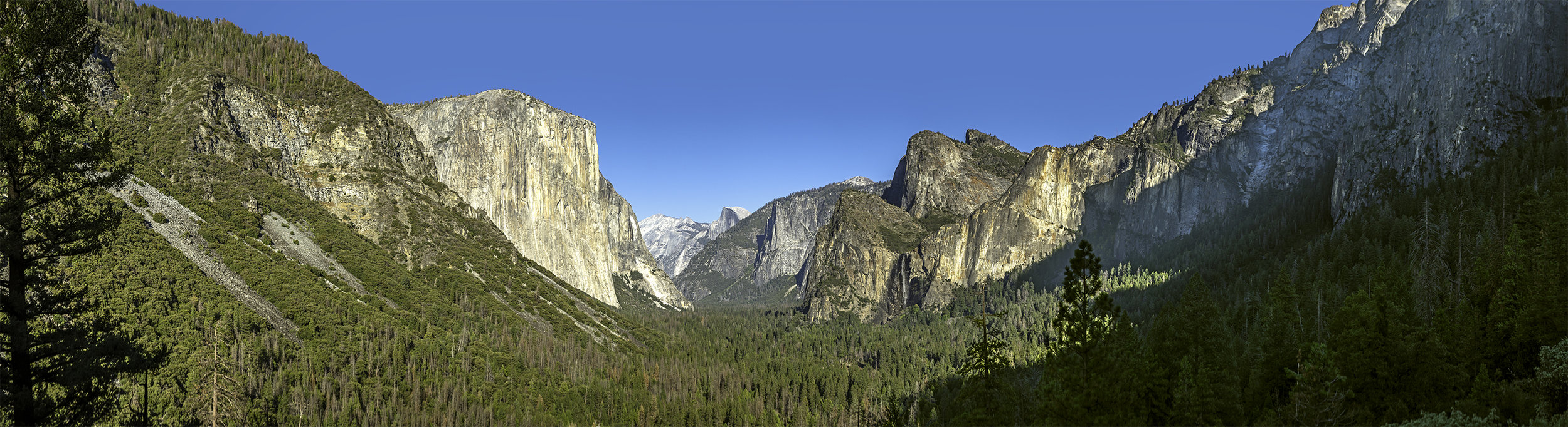 This is a 14 image panoramic, stitched together of this awe-inspiring spot, the tunnel view of Yosemite Valley.