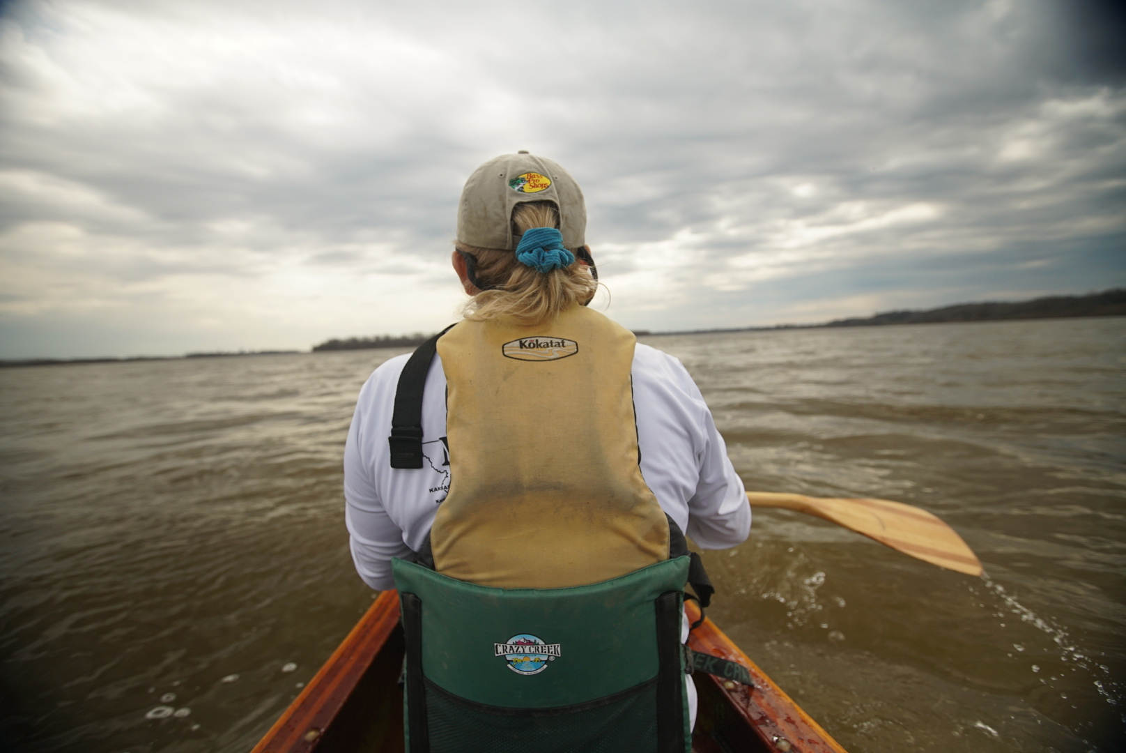 Paddling behind Janet Moreland, first female thru-paddler from source-to-sea Missouri/Mississippi to the Gulf.