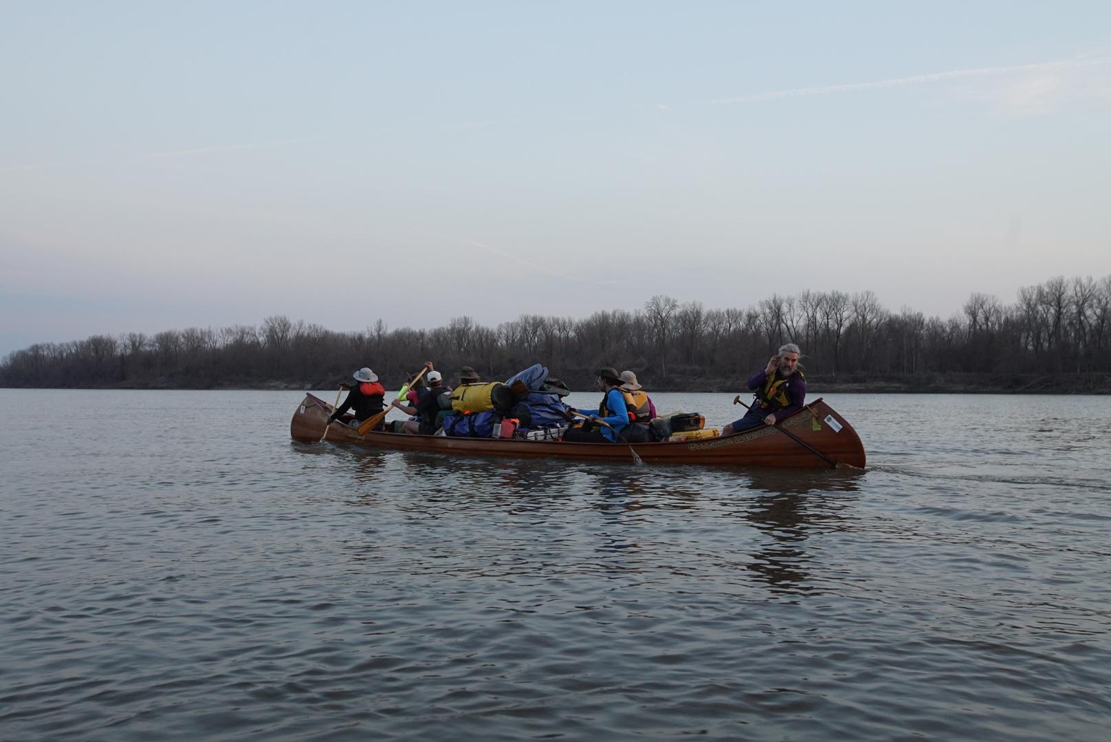 Paddling the Missouri River in tandem.