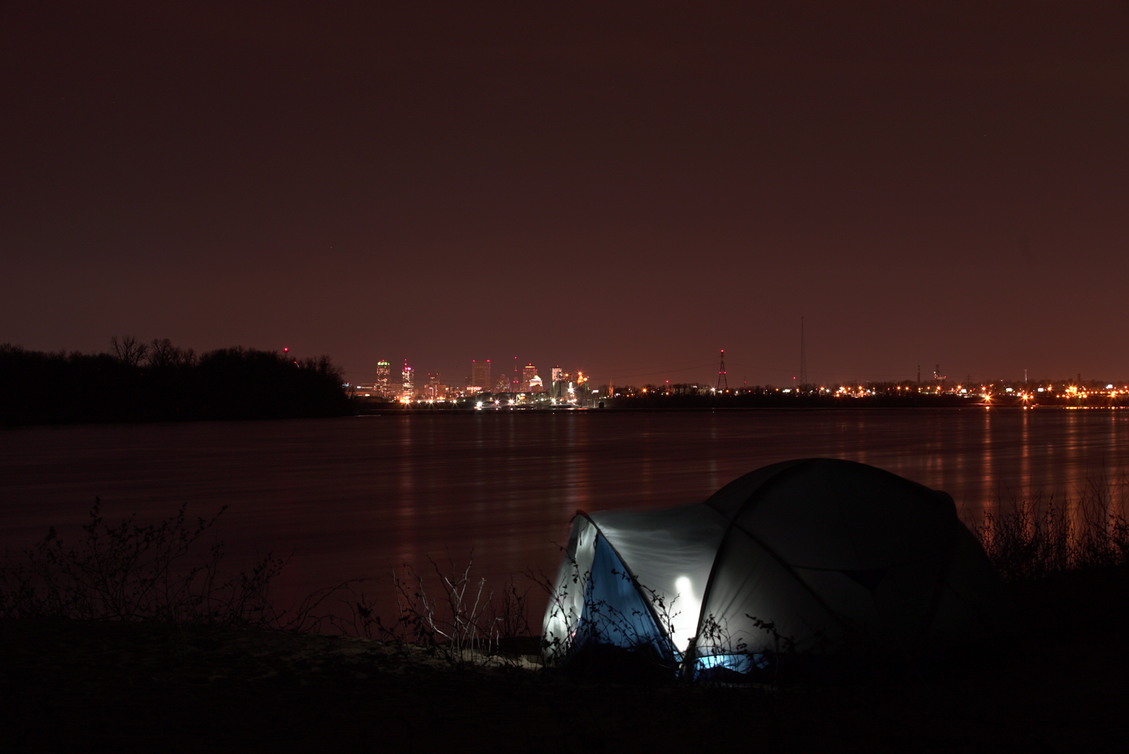 Campsite perched above the sands across a small stretch overlooking St. Louis.