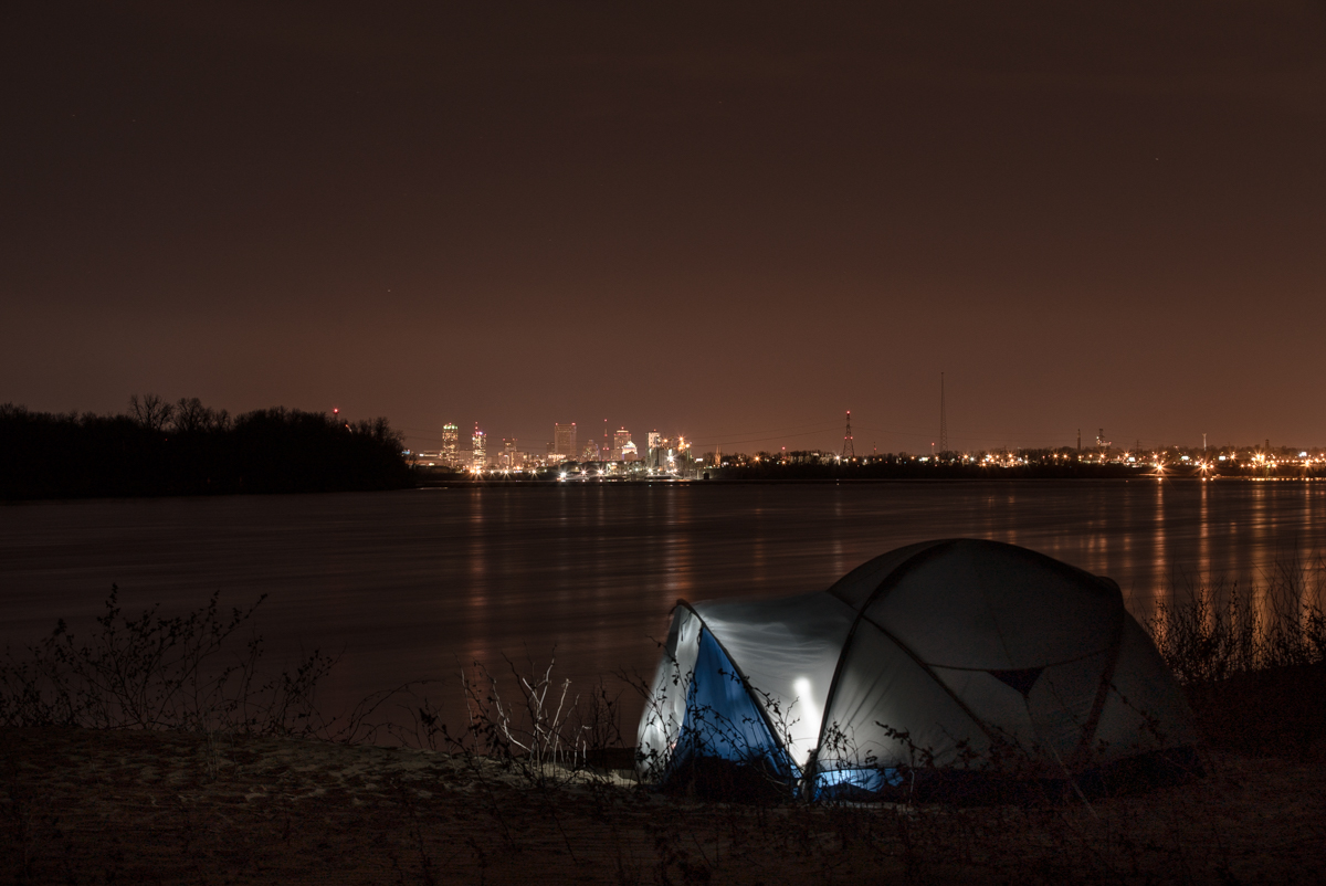 View of Downtown St. Louis from our campsite on Mosenthein Island (backchannel). I wonder how many STL residents know this exists.