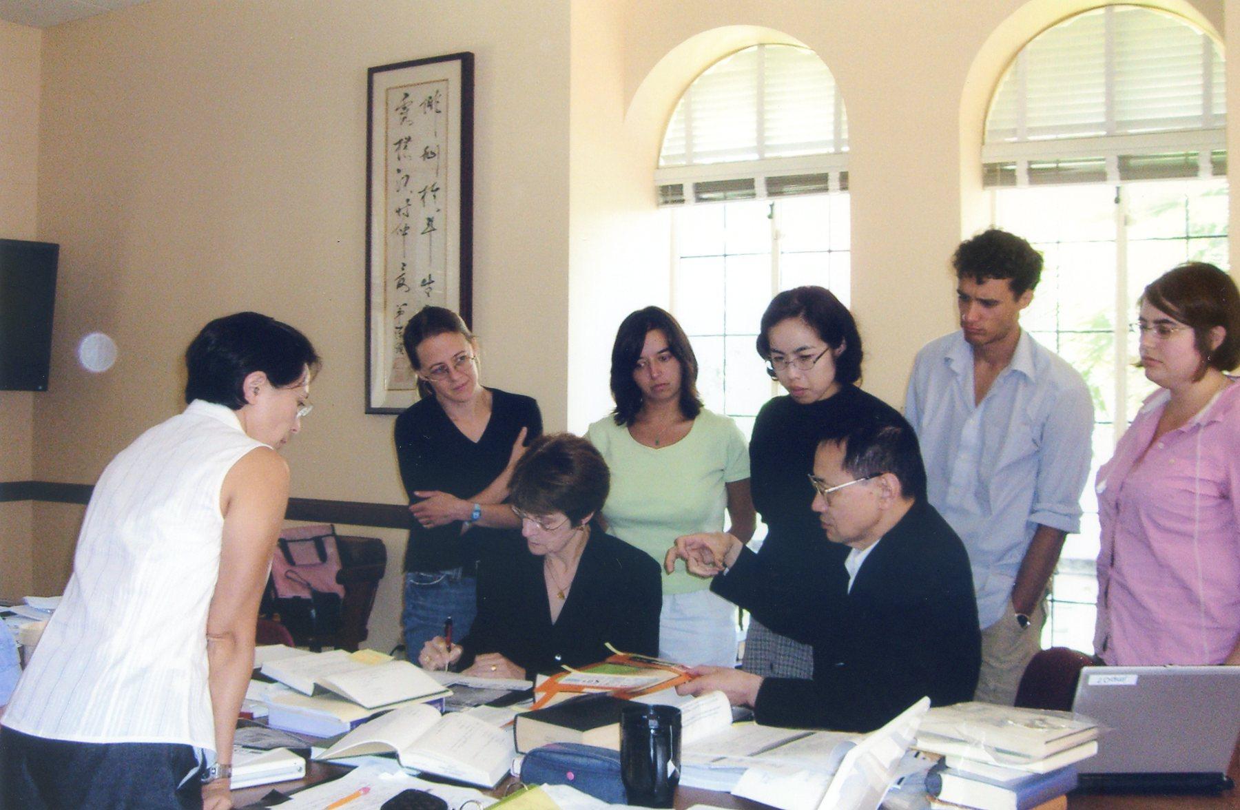 Dr. JoanPiggott reviews classical Japanese materials with Professor Eiichi Ishigami at the 2007 Kambun Workshop.