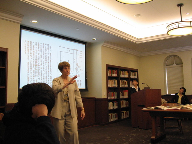 Prof. Yoshie, Prof. Ijuin, and Dr. Piggott speak at a 2013 gathering at the University of Southern California.
