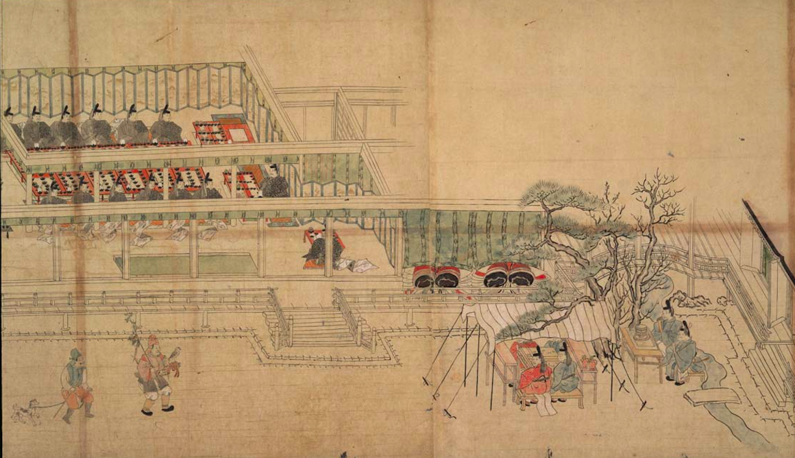 A banquet scene from the Tokyo National Museum's copy of the Illustrated Scroll of Annual Events (Nenjugyōji emaki).