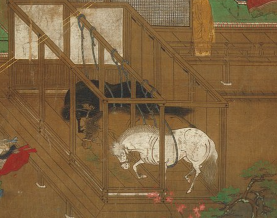 Horses in the  Illustrated Biography of Prince Shôtoku  (14th c.) from the  Metropolitan Museum of Art  collections. (Creative Commons)
