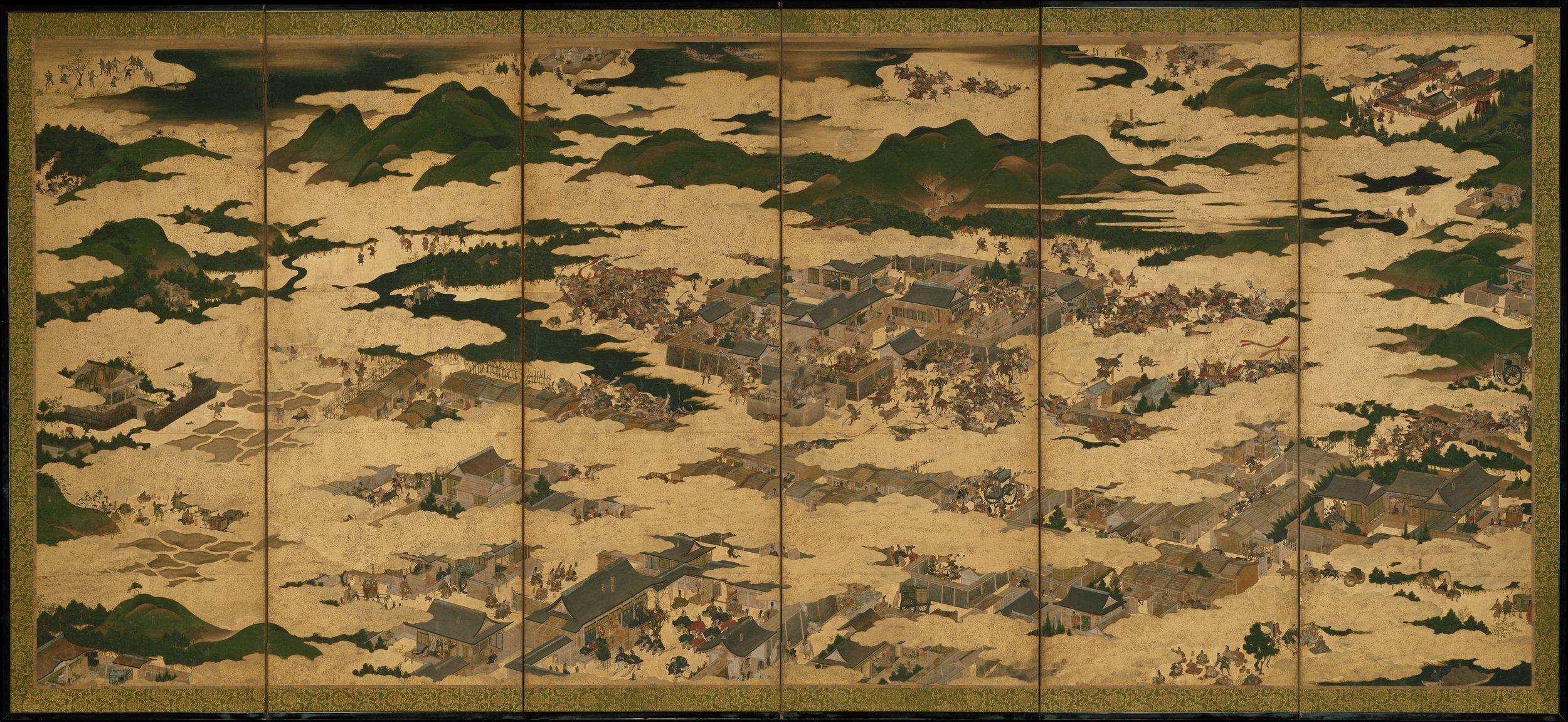 保元平治合戦図屏風 The Rebellions of the Hōgen and Heiji Eras,17th century. Metropolitan Museum of Art, New York.