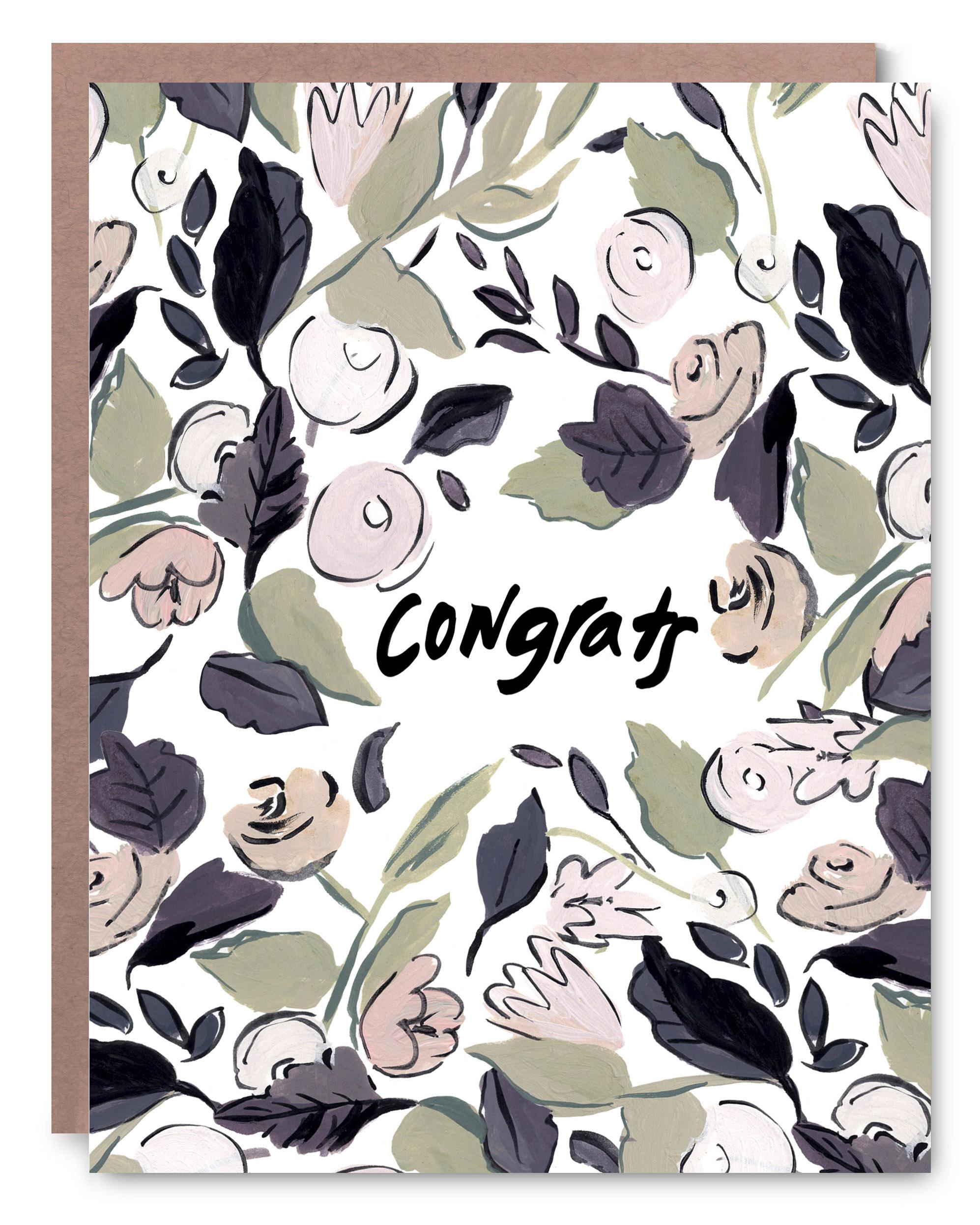 "Floral Congrats - Blank inside - 4.25 x 5.5"""