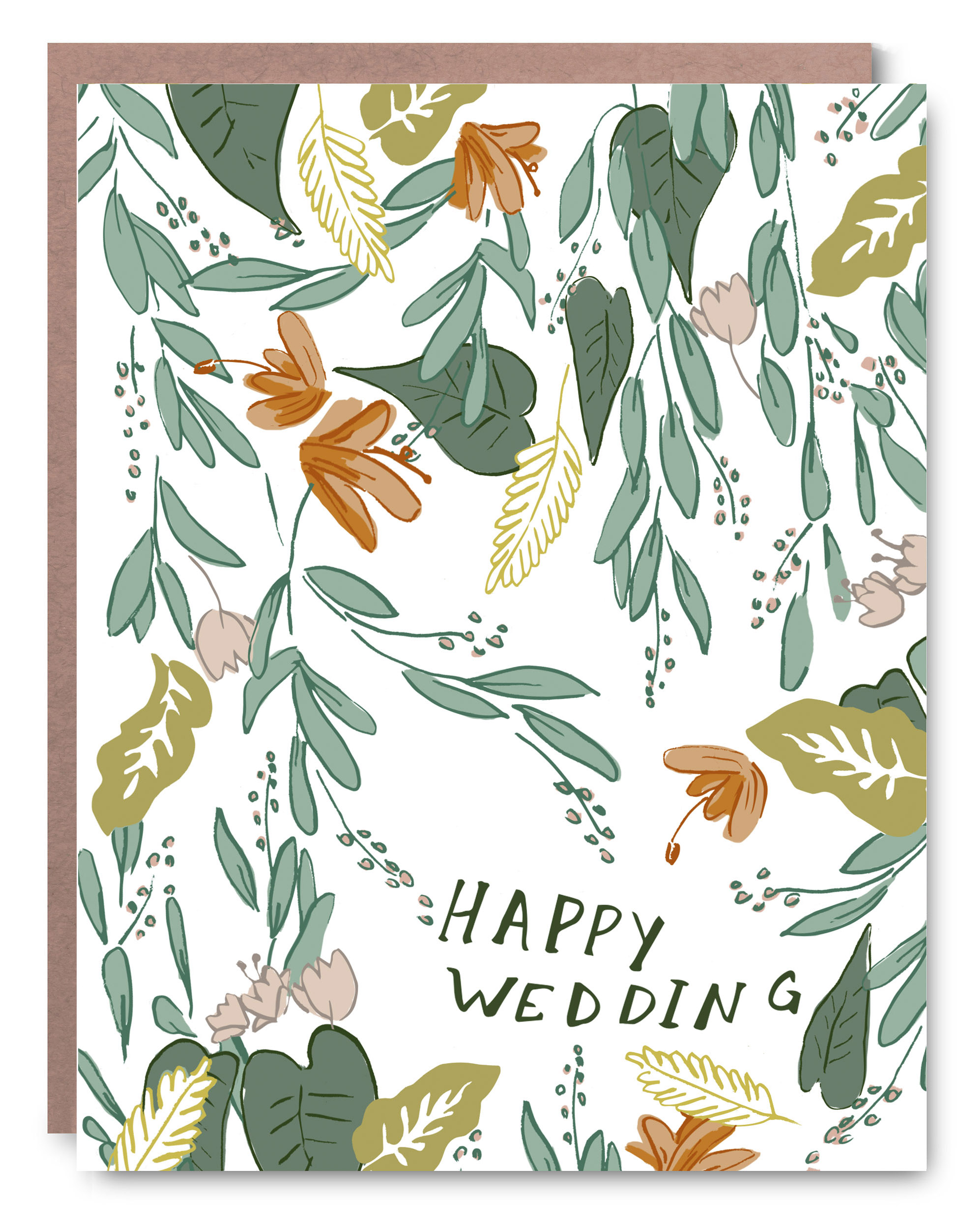 "Happy Wedding - Blank inside - 4.25 x 5.5"""