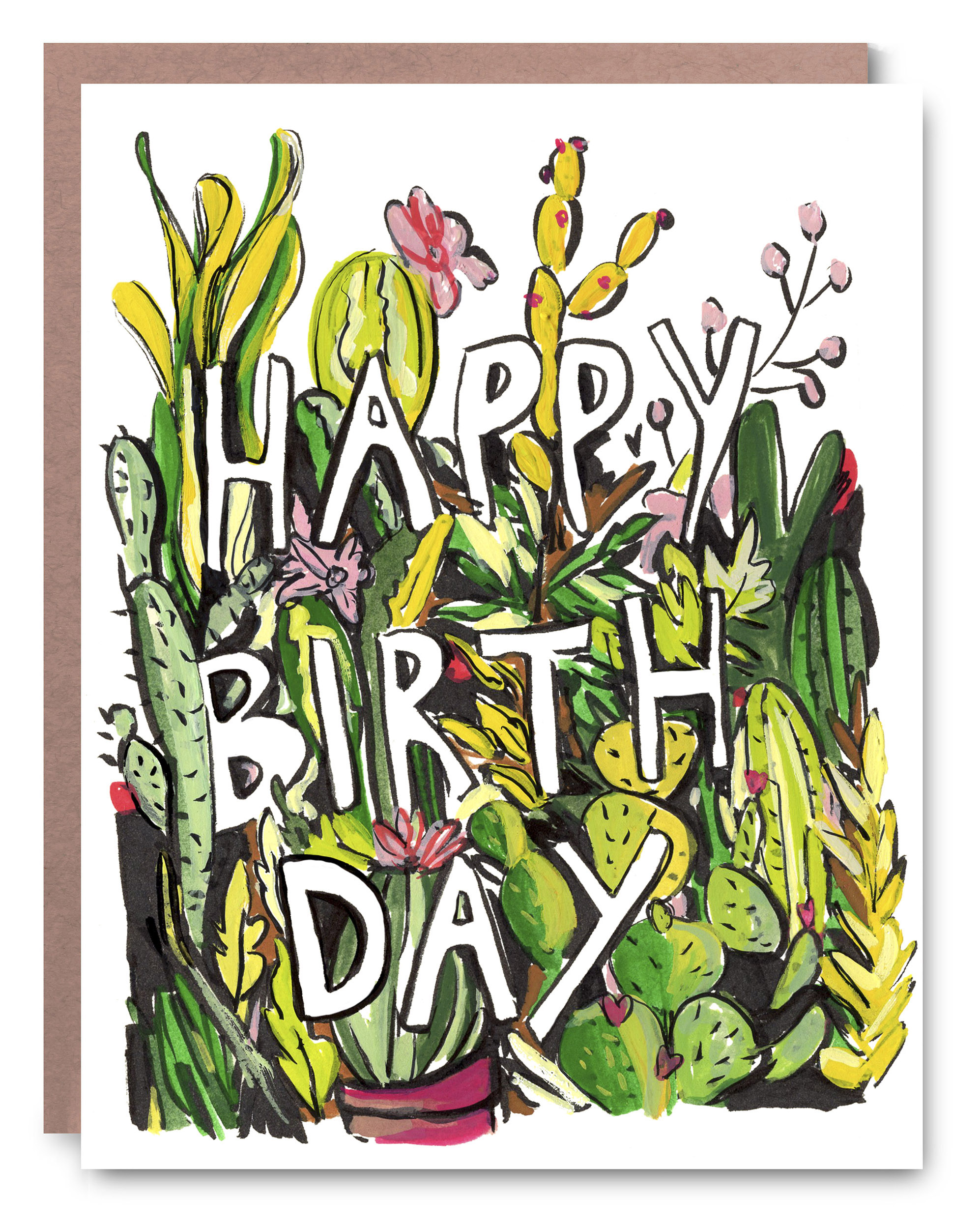 Cactus Birthday - Blank inside - 4.25 x 5.5""