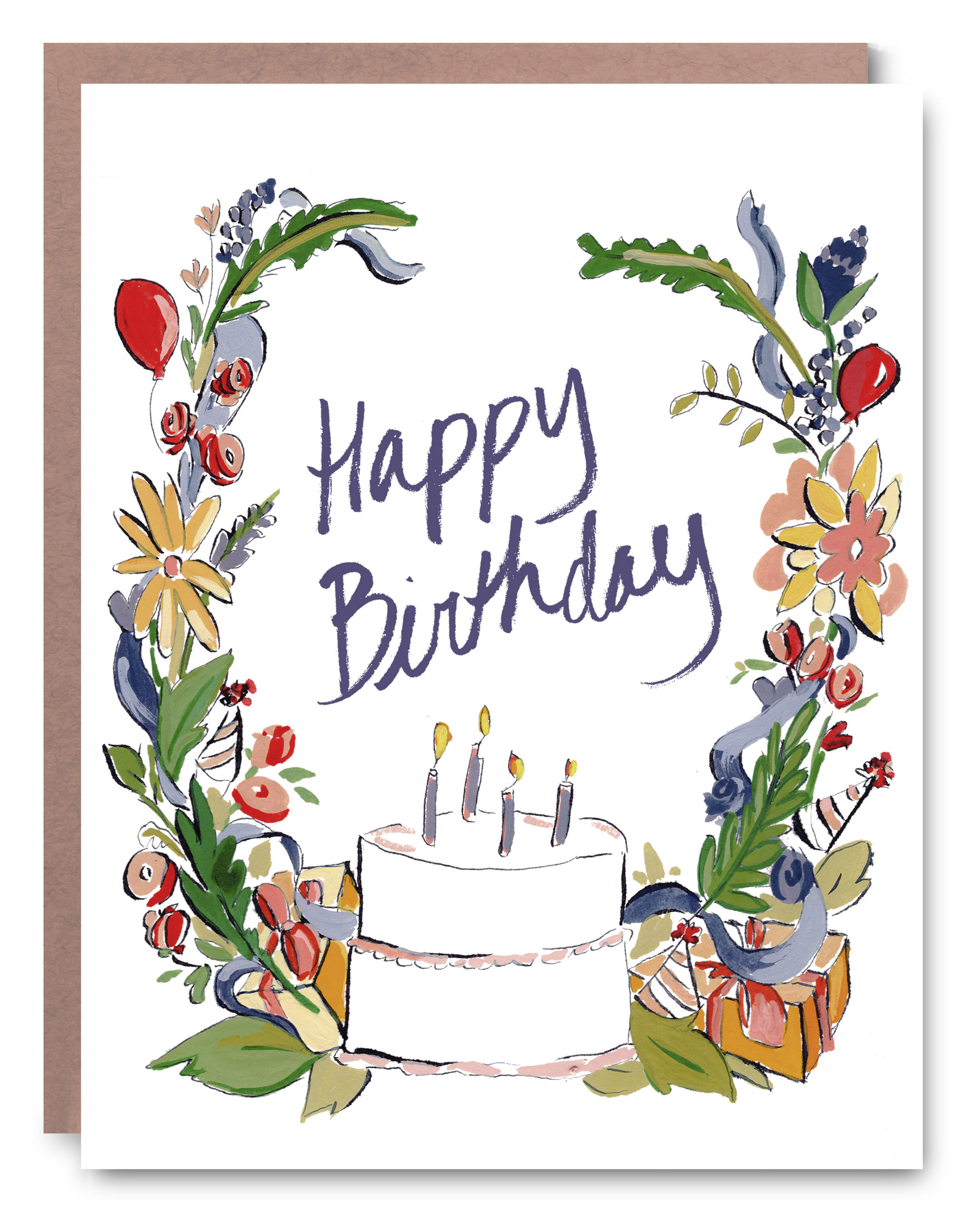 Birthday Cake - Blank inside - 4.25 x 5.5""