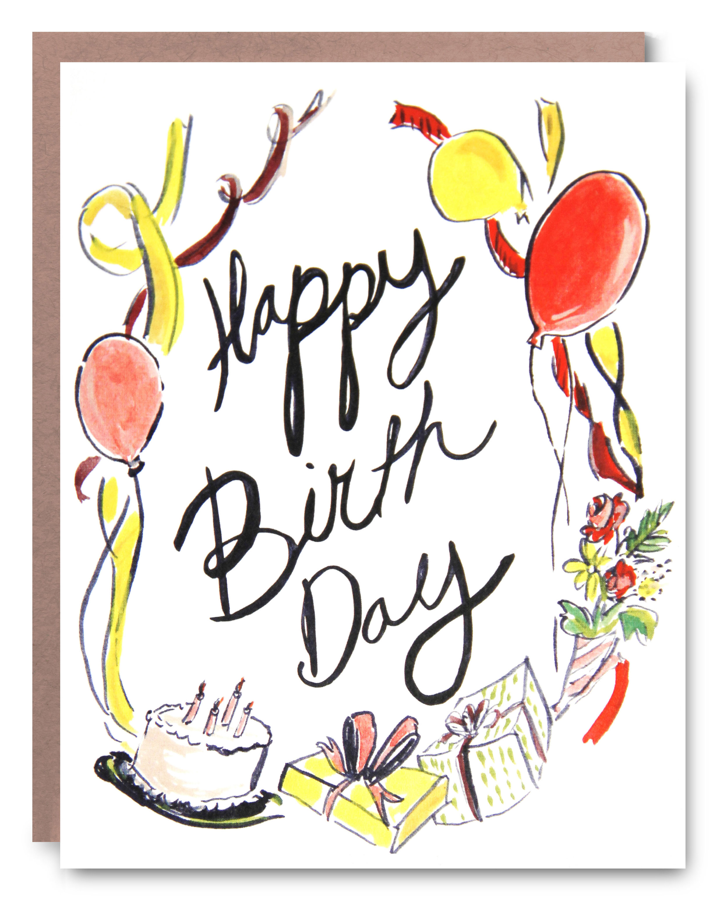 Birthday Ribbons - Blank inside - 4.25 x 5.5""