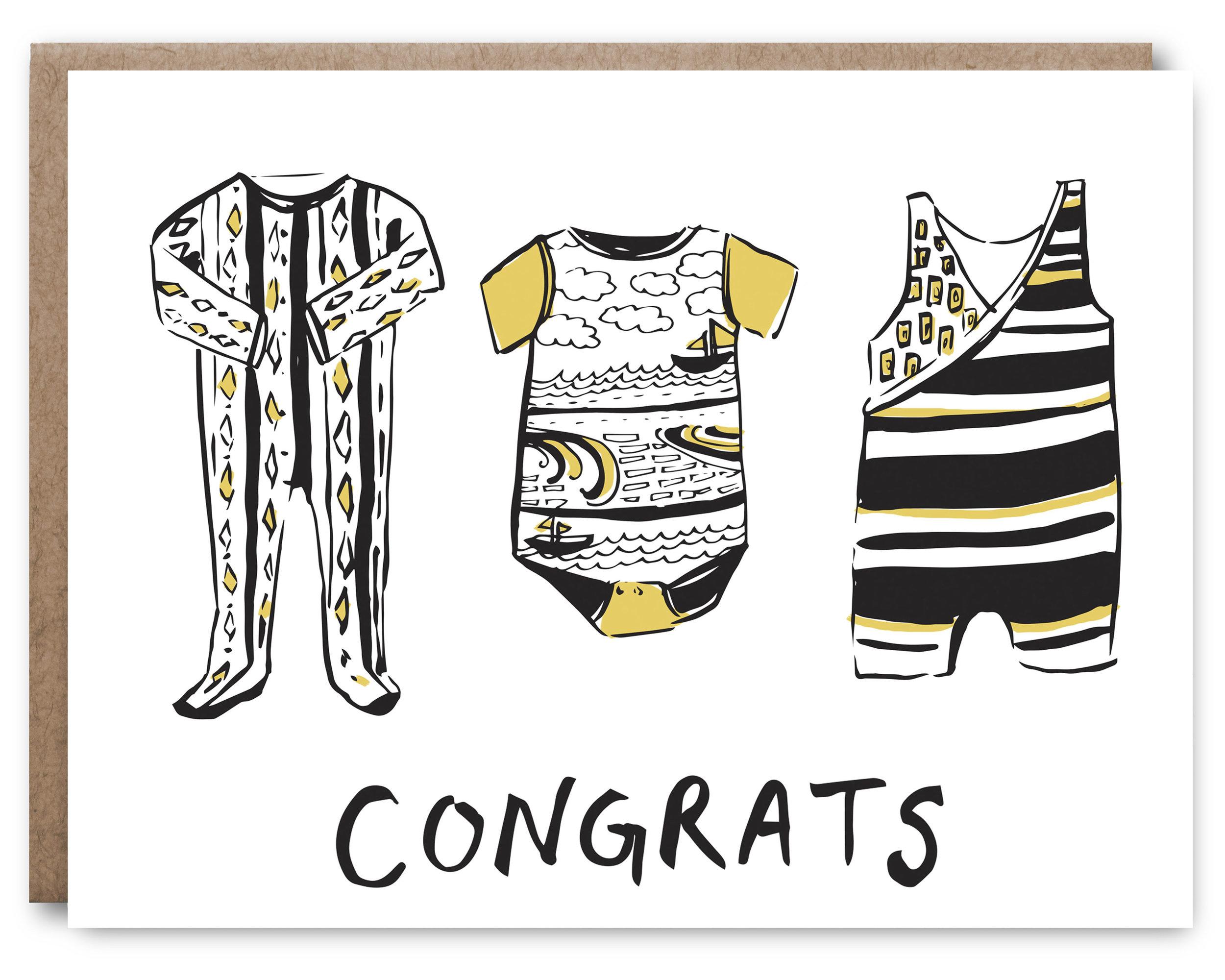 Yellow &Black Cloths Baby - Blank inside - 4.25 x 5.5