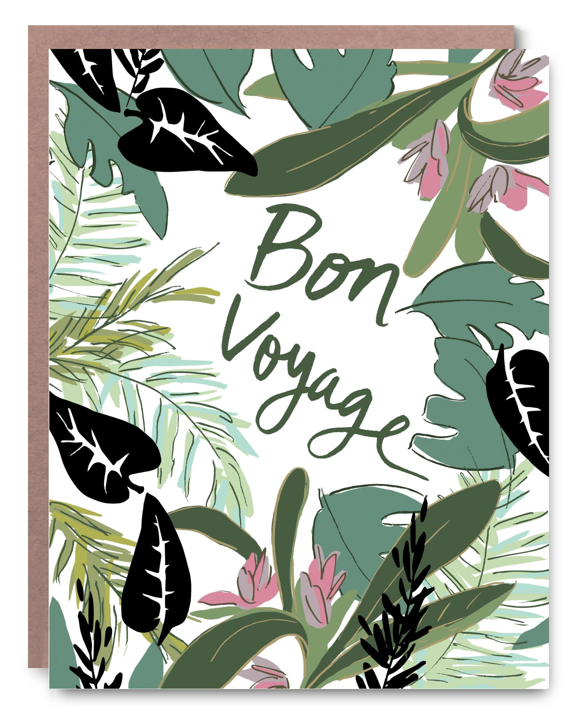"Bon Voyage - Blank inside - 4.25 x 5.5"""