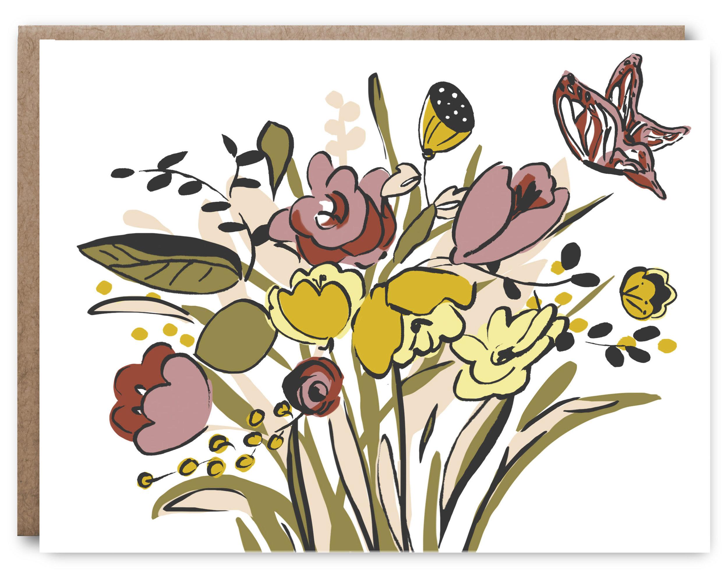 Floral Butterfly - Blank inside - 4.25 x 5.5