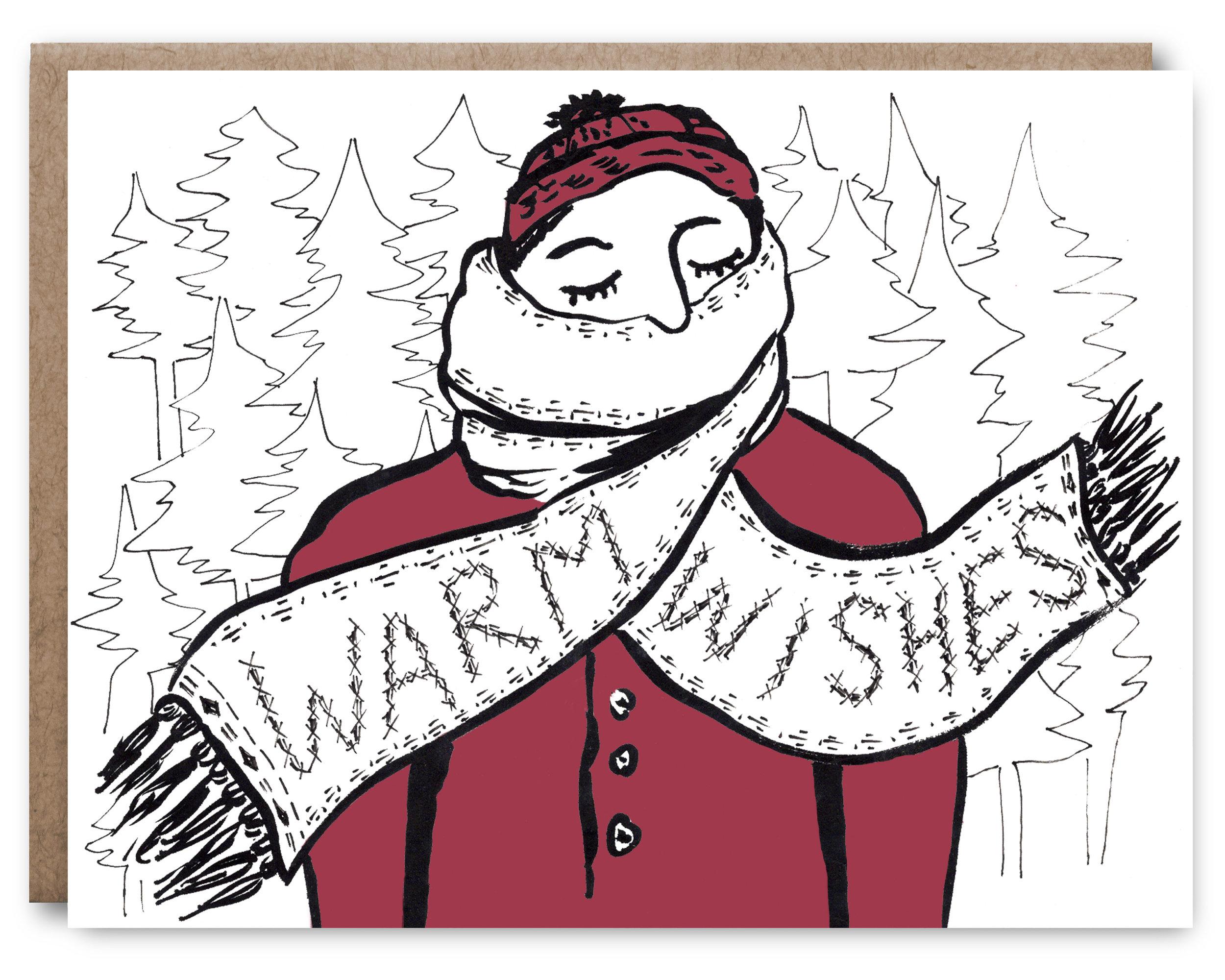 Warm Wishes Scarf - Blank inside - 4.25 x 5.5